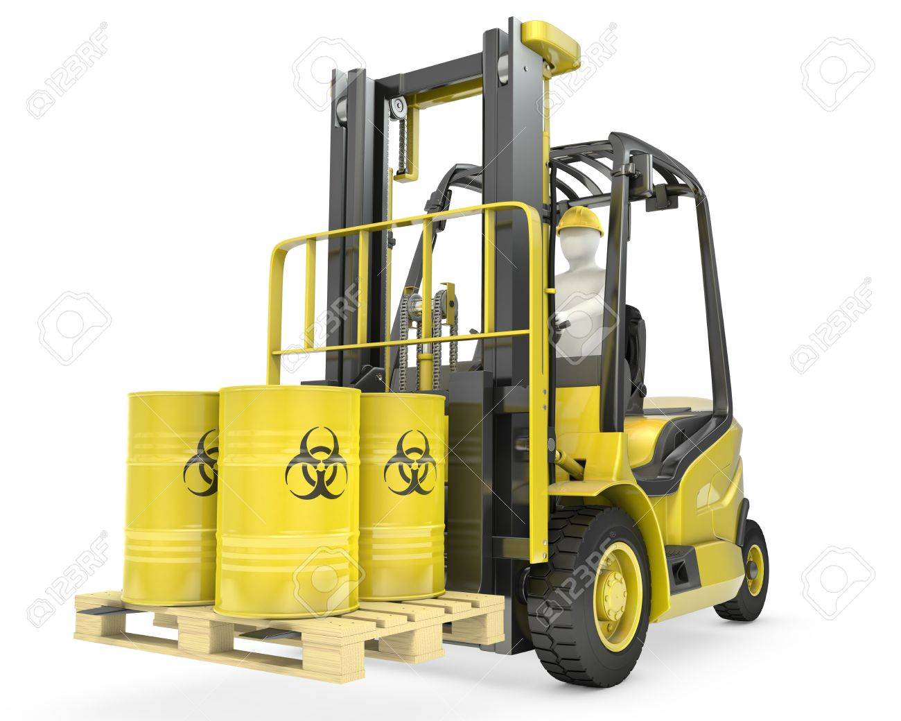 Fork lift truck with biohazard barrels, isolated on white background Stock Photo - 14839973
