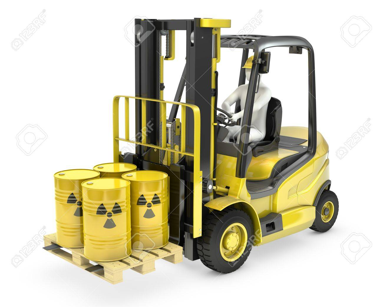 Fork lift truck with radioactive barrels, isolated on white background Stock Photo - 14839960
