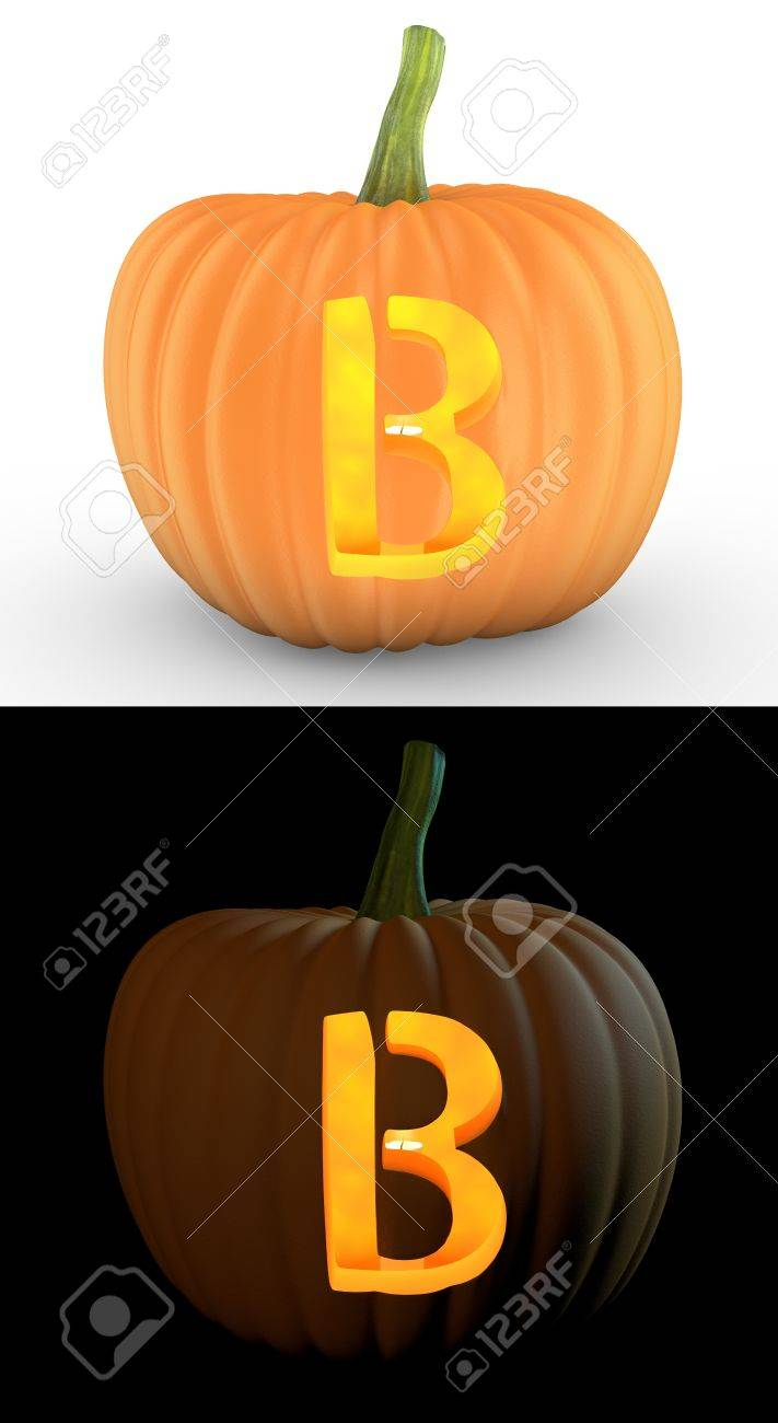 pumpkin carving templates b  B letter carved on pumpkin jack lantern isolated on and white..