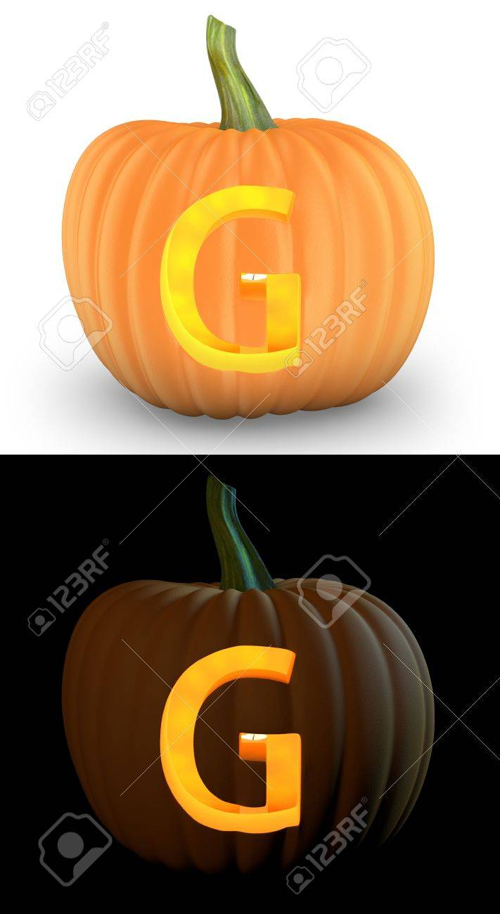 pumpkin template letter m  G letter carved on pumpkin jack lantern isolated on and white..