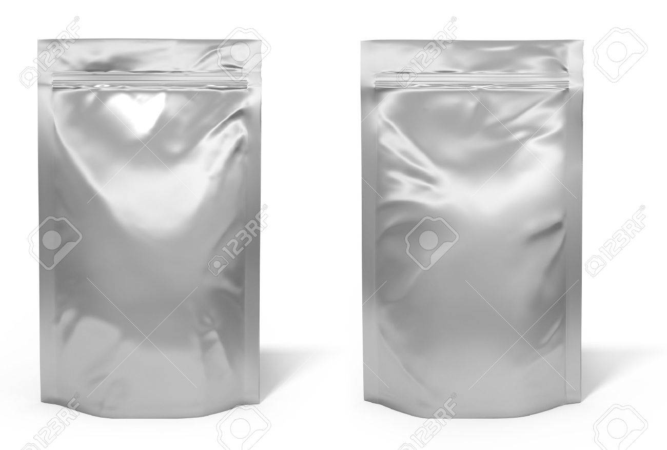 Foil bag package isolated on white background Stock Photo - 17512801