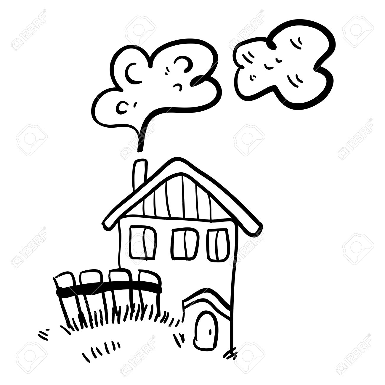 Cute Doodle Farm House On White Background Simple Illustration Funny Cartoon Old