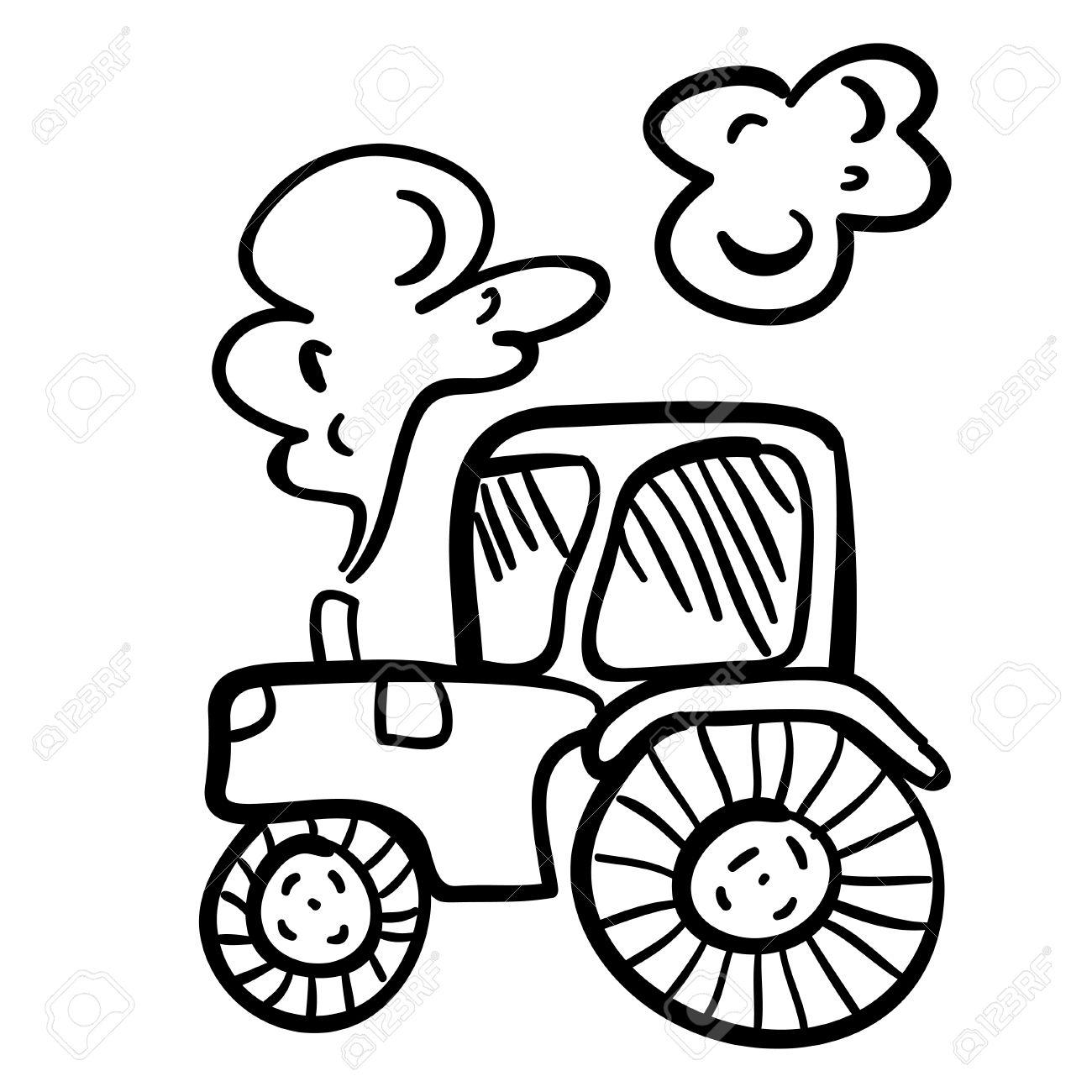 Nette Vektor Illustration Mit Traktor Lustige Doodle Traktor Auf