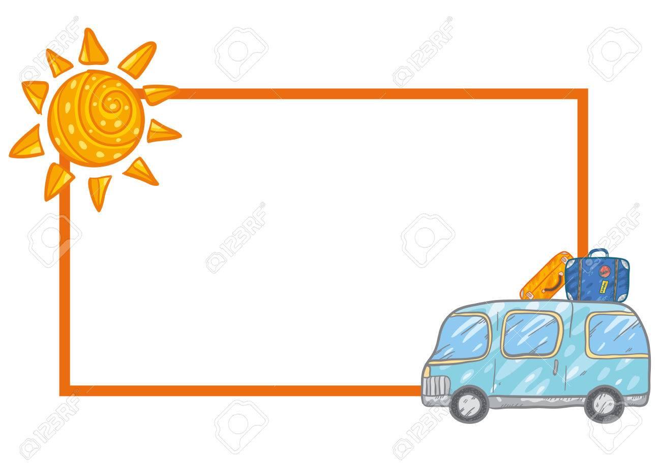 Vector Rahmen Mit Niedlichen Blauen Bus Und Koffer, Reisegepäck Und ...