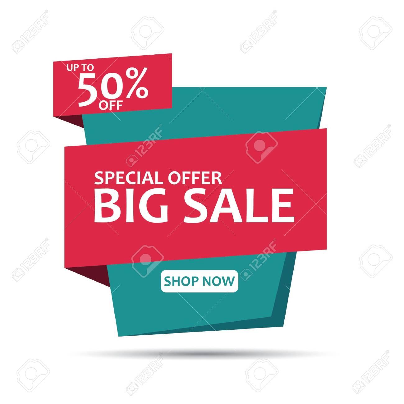 Sale Banner Template Design. Geometric Sale Banner. Big Sale Banner Vector Illustration. - 136331023