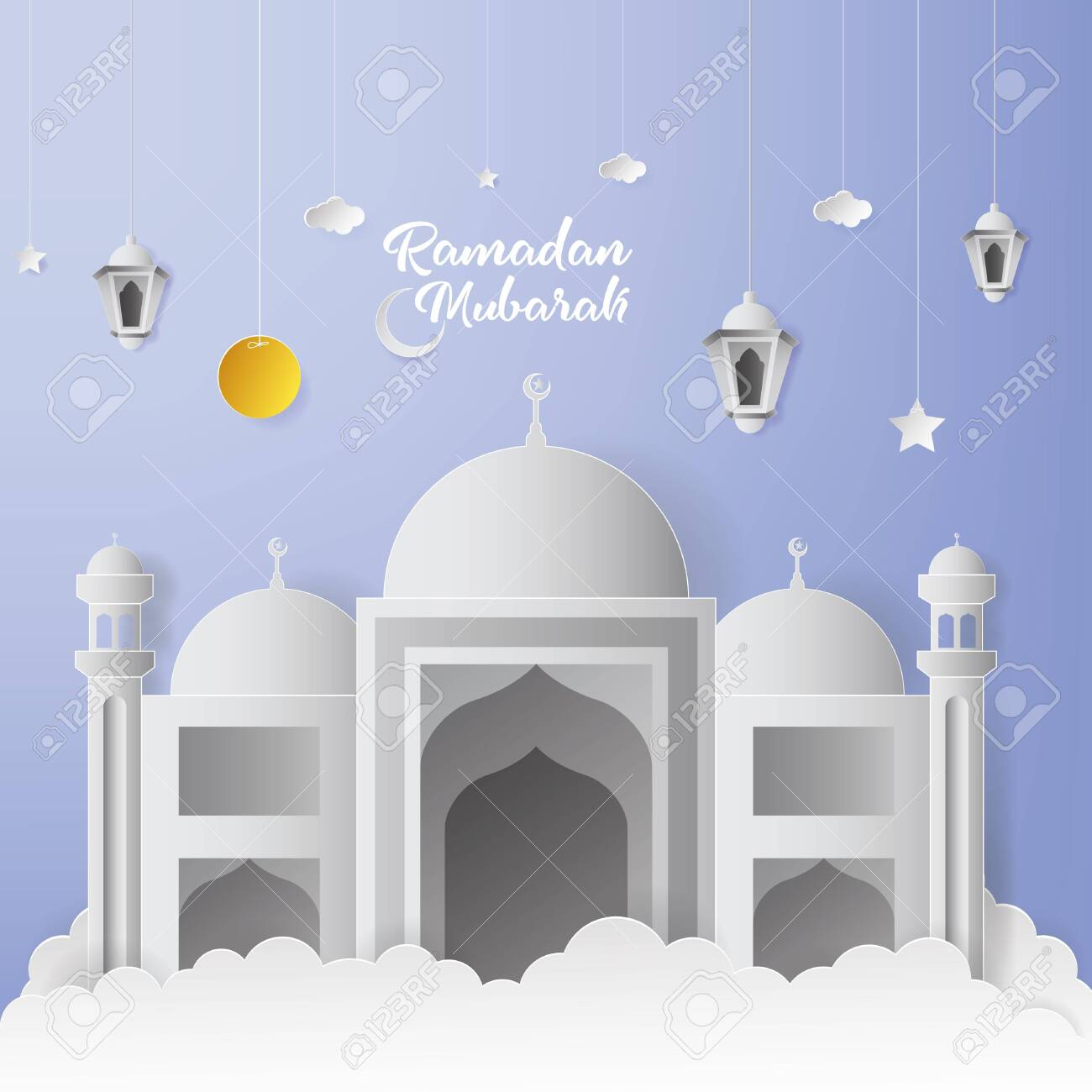 Ramadan Mubarak Greeting Card Design With Mosque And Lantern Royalty Free Cliparts Vectors And Stock Illustration Image 137173729