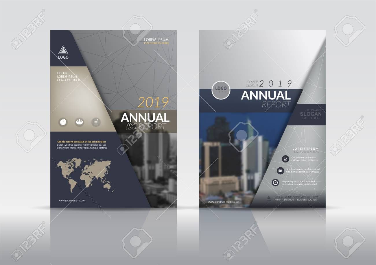 Cover Design template, annual report cover, flyer, presentation, brochure. Front page design layout template with bleed in A4 size. Multi colors with abstract background templates. - 103122262