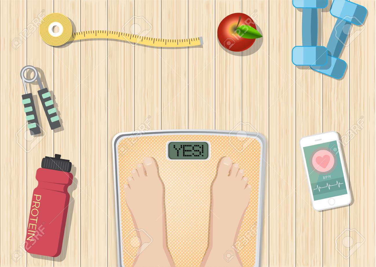 Sport and healthy equipment concept on wooden background, healthy food and wellness banner, objects set on a wooden floor, top view - 117674839