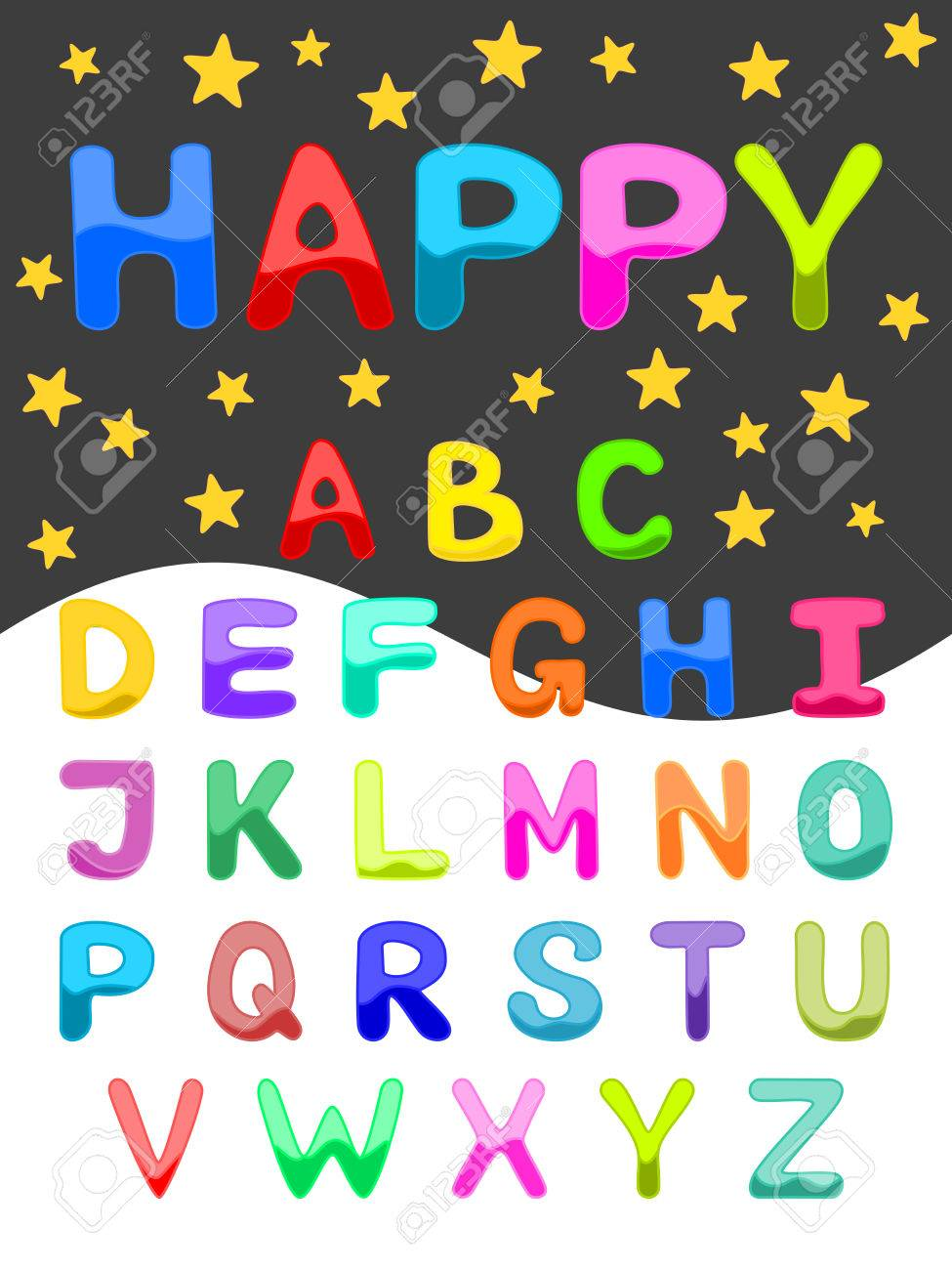 Colorful Alphabet Uppercase Font Set Of ABC Letters In Bright Colors Funny Cartoon On Starry