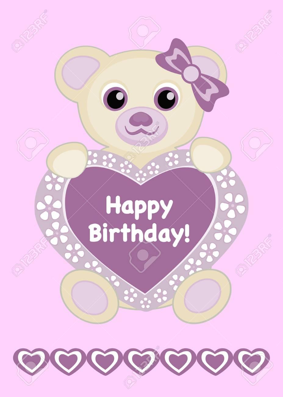Baby Girl Birthday Card Vector Illustration Cute Baby Bear With