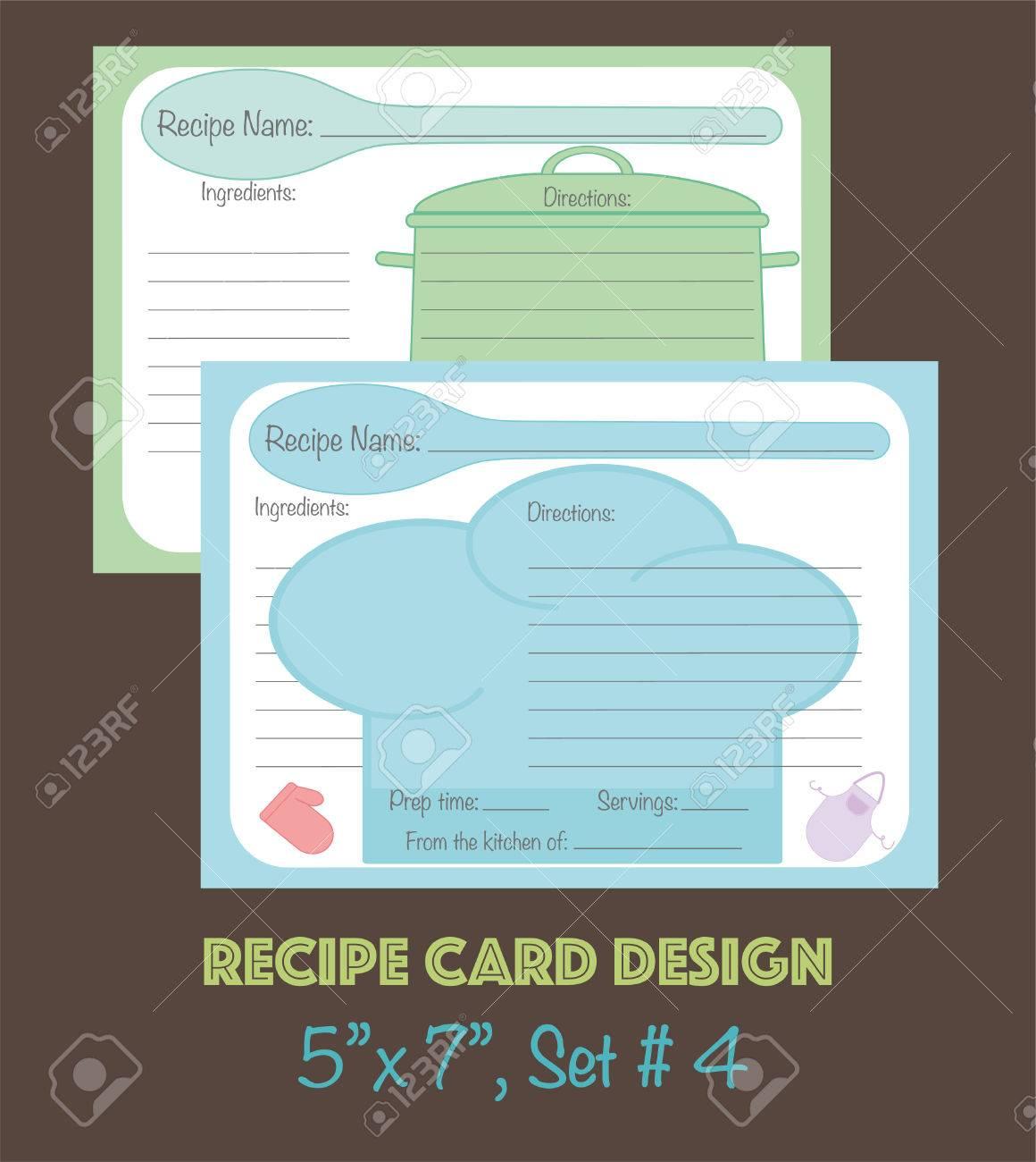 Recipe Cards Template, Vector Design Cute Recipe Cards, Recipe ...