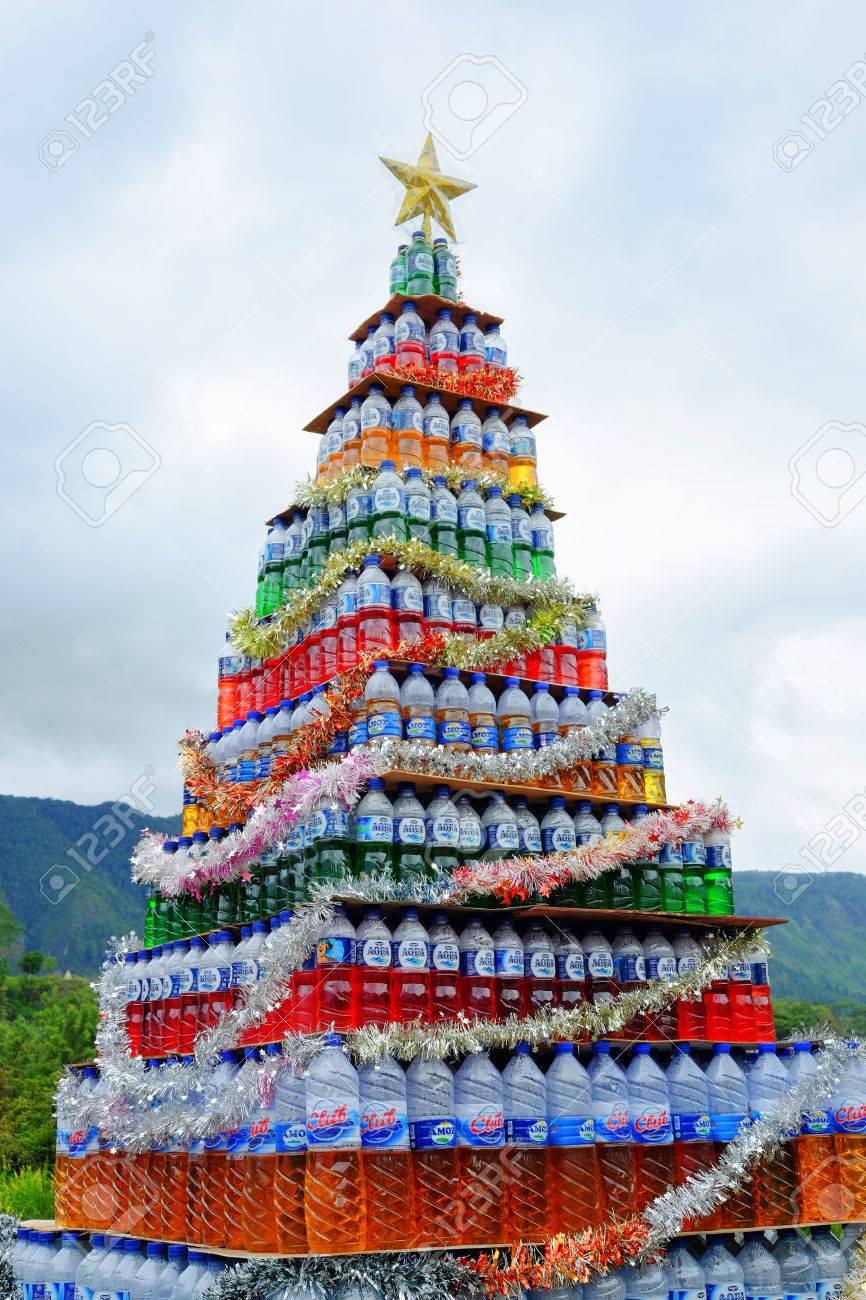 Christmas Tree Water.Lake Toba Indonesia December 2016 Original Christmas Tree