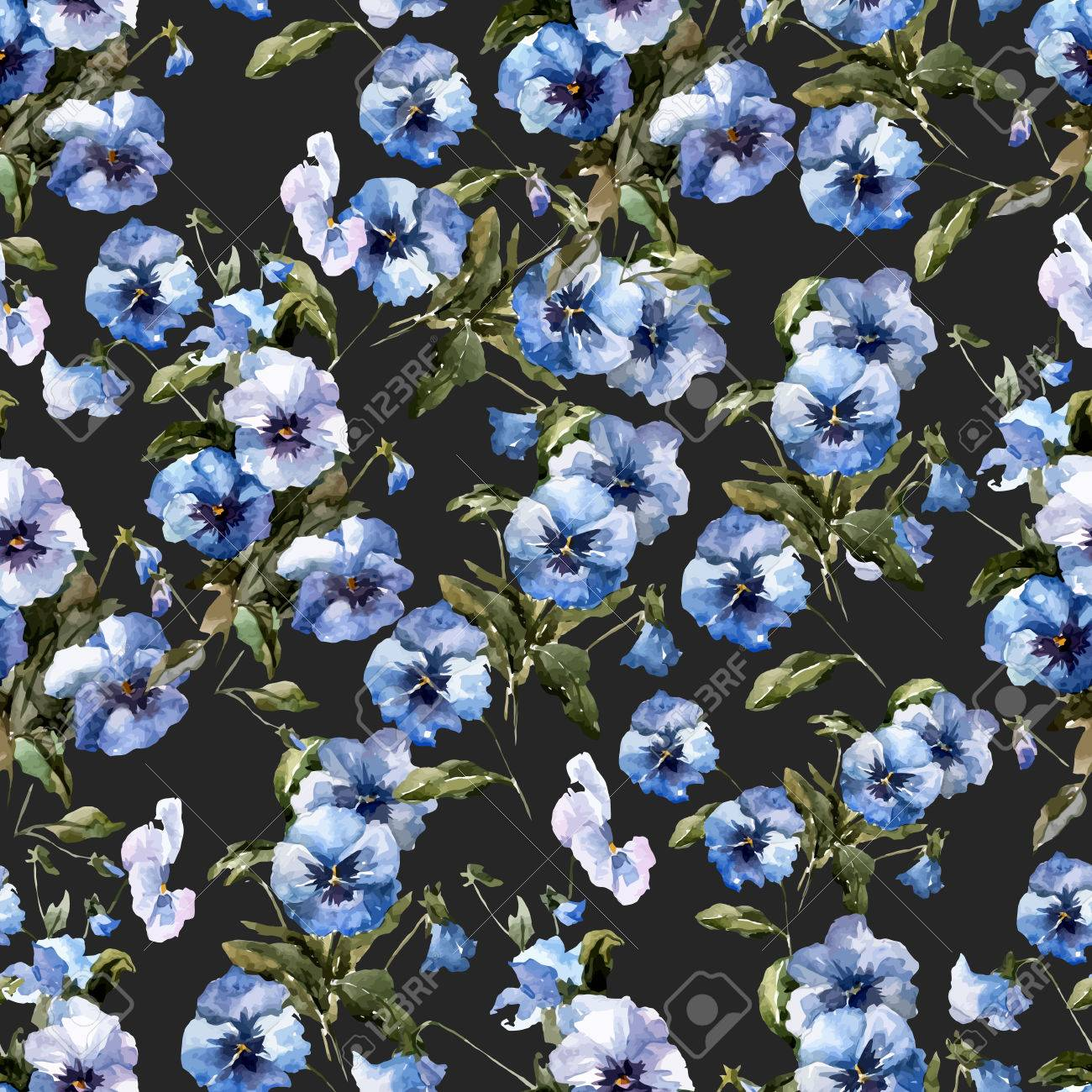 Beautiful vectorn pattern with blue flowers on black fon royalty beautiful vectorn pattern with blue flowers on black fon stock vector 33628030 dhlflorist Images