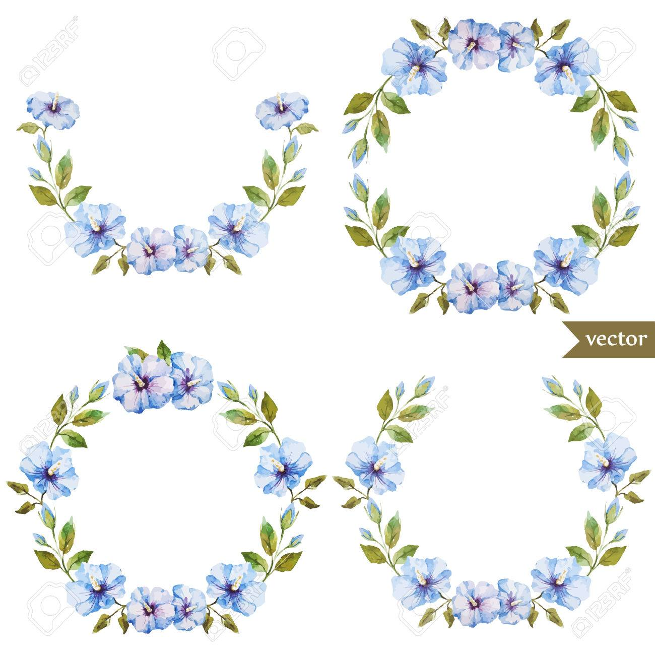 Beautiful blue flowers in wreath on white fon royalty free cliparts beautiful blue flowers in wreath on white fon stock vector 36354364 izmirmasajfo