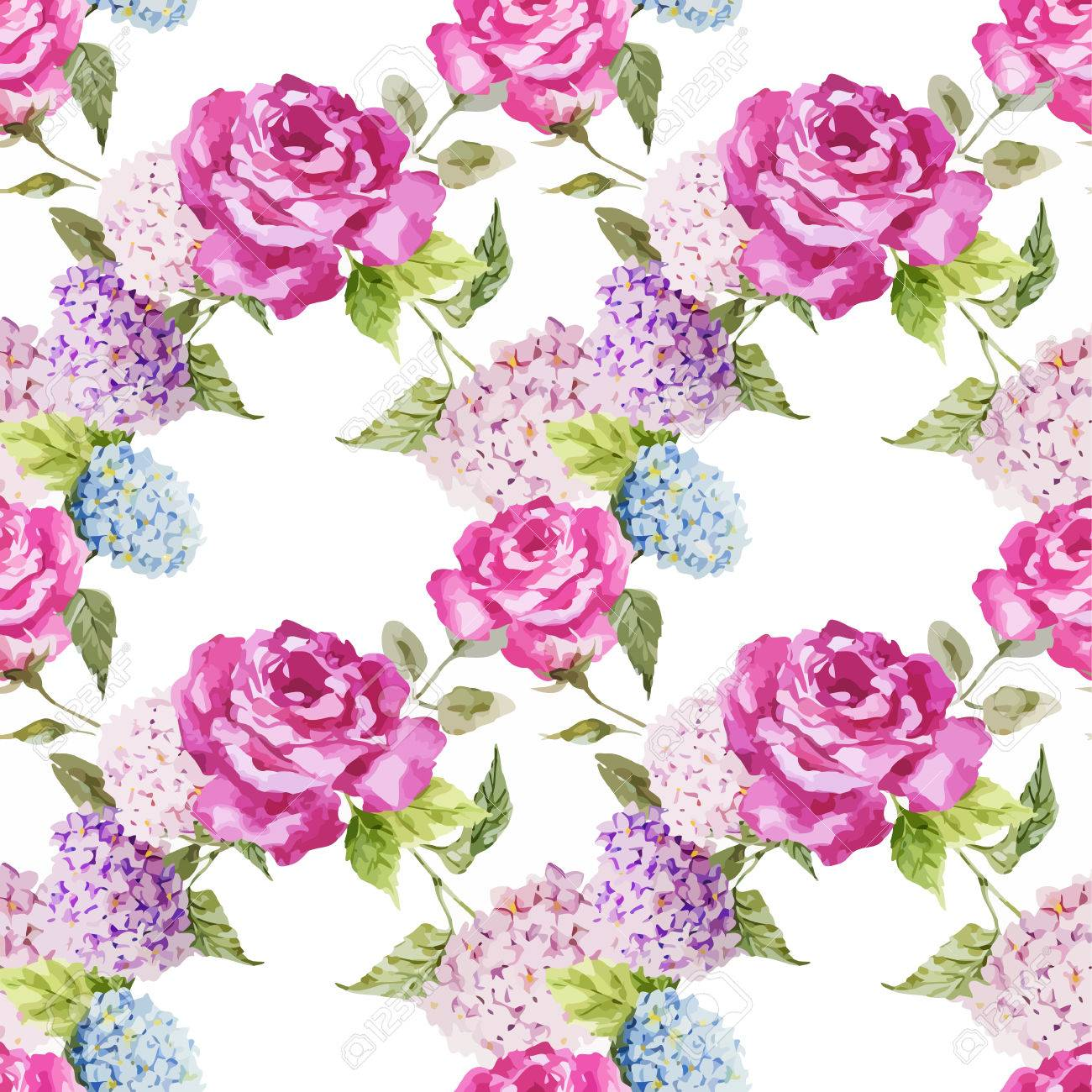 Beautiful Watercolor Vector Pattern With Hydrangea And Roses Royalty