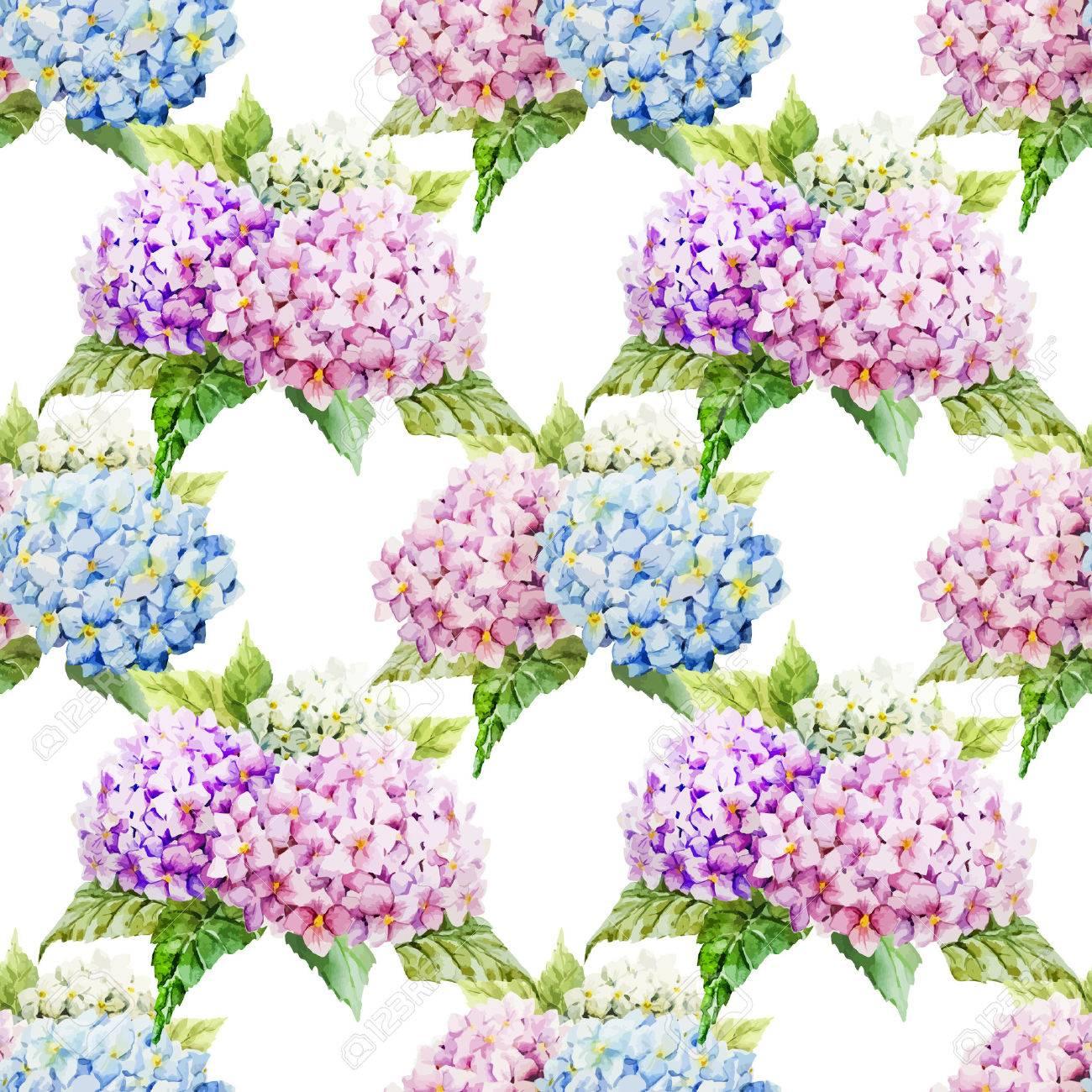 bella modelo hortensias vector acuarela diferentes colores foto de archivo