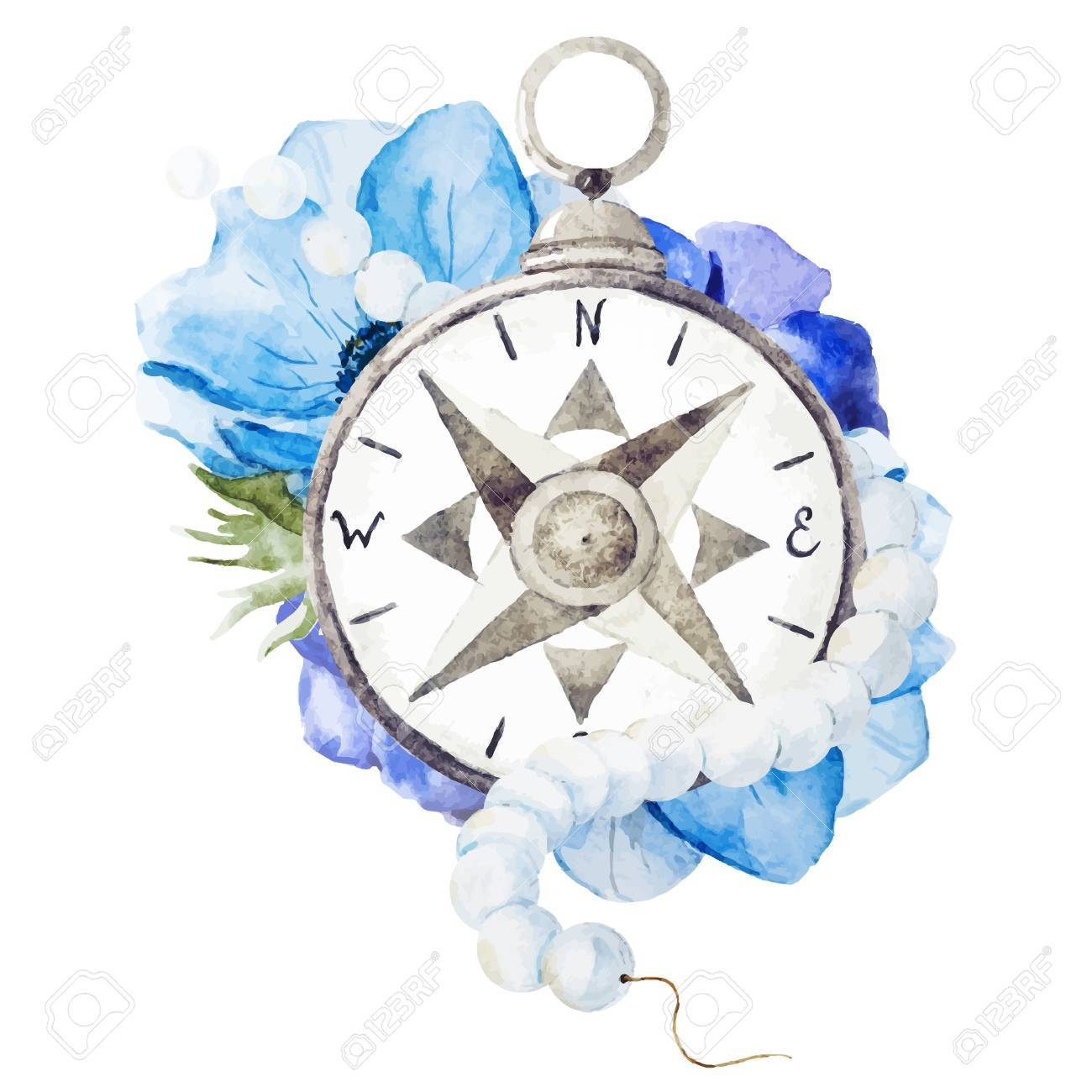 69e06d8c4 Beautiful vector image with nice watercolor compass with flowers Stock  Vector - 38814860