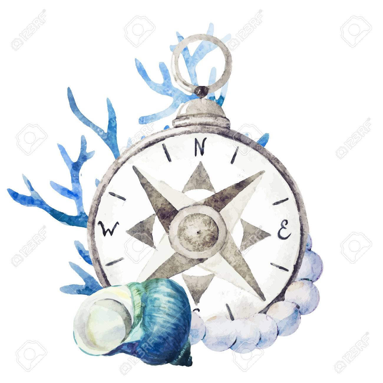 f7a7ae553 Beautiful vector image with nice watercolor compass with corals Stock  Vector - 38814869
