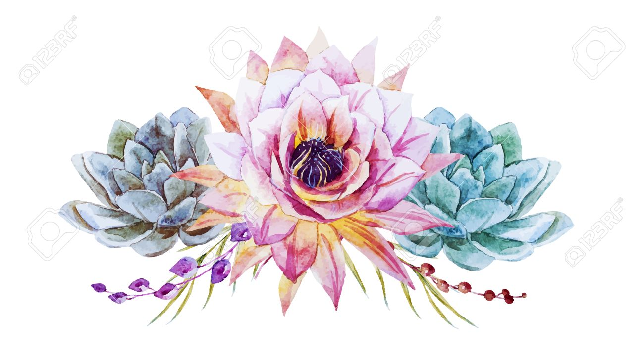 Beautiful Vector Image With Nice Watercolor Lotus Flowers Royalty