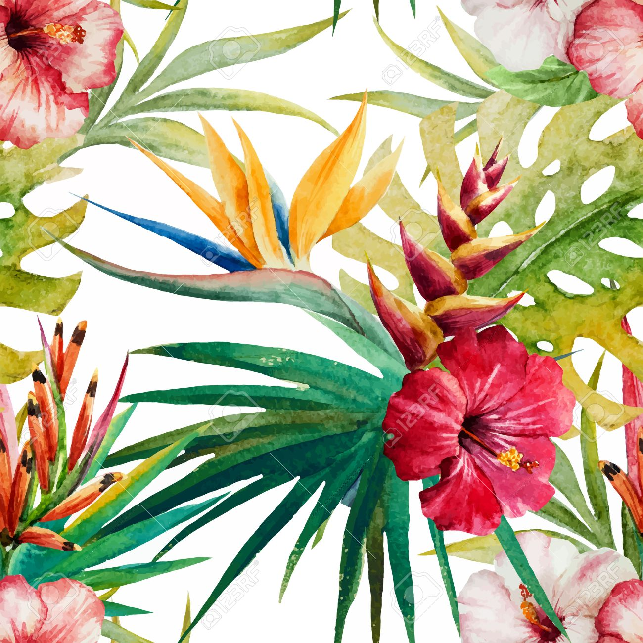 beautiful vector pattern with nice watercolor tropical flowers, Beautiful flower