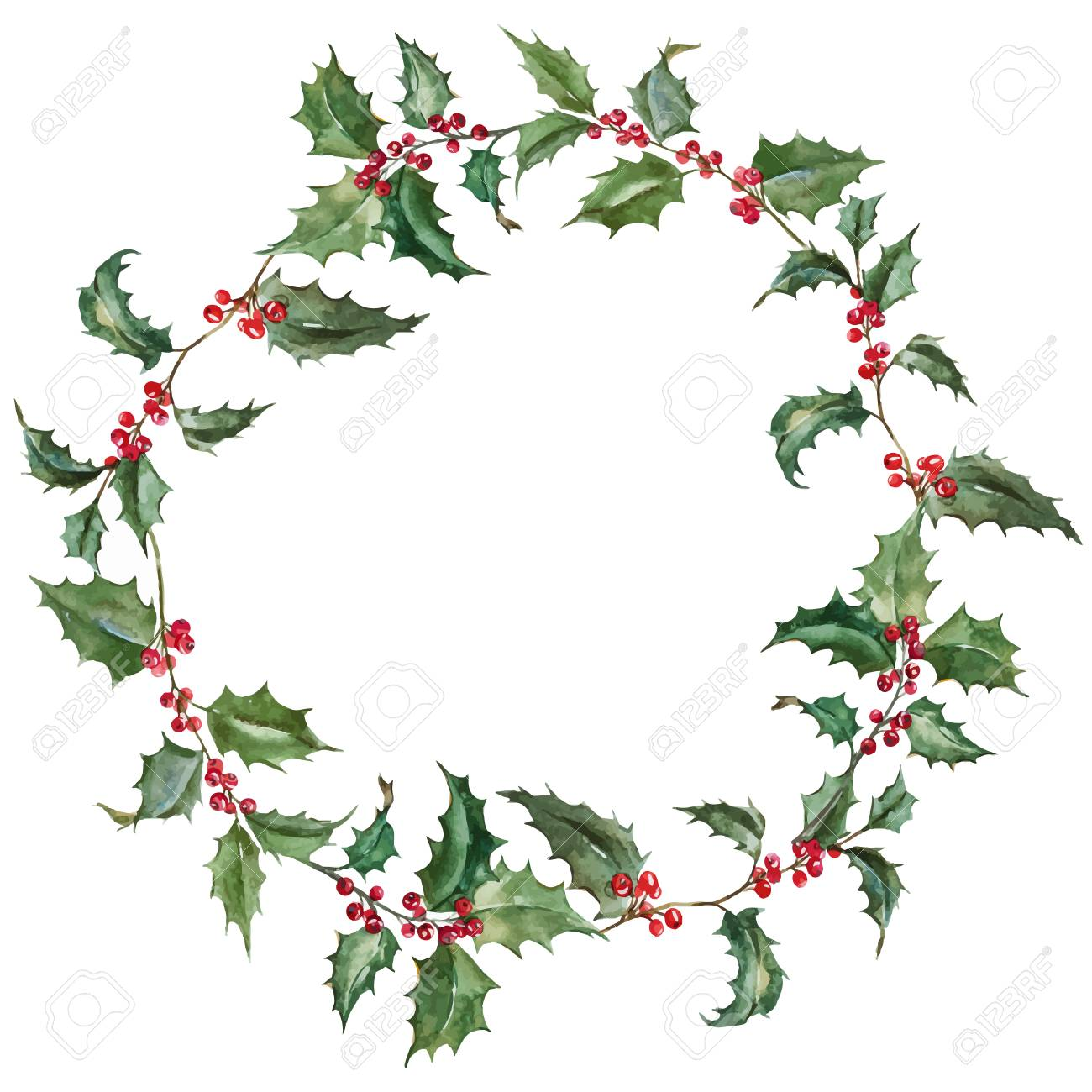 Beautiful Image With Nice Watercolor Christmas Wreath Royalty Free