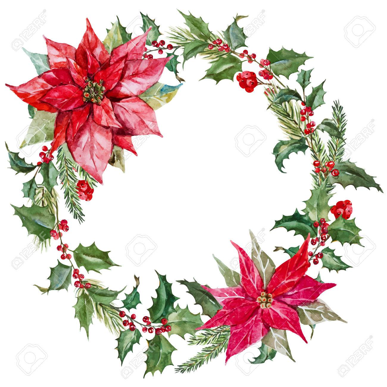 Beautiful Image With Nice Watercolor Christmas Wreath Royalty Free ...