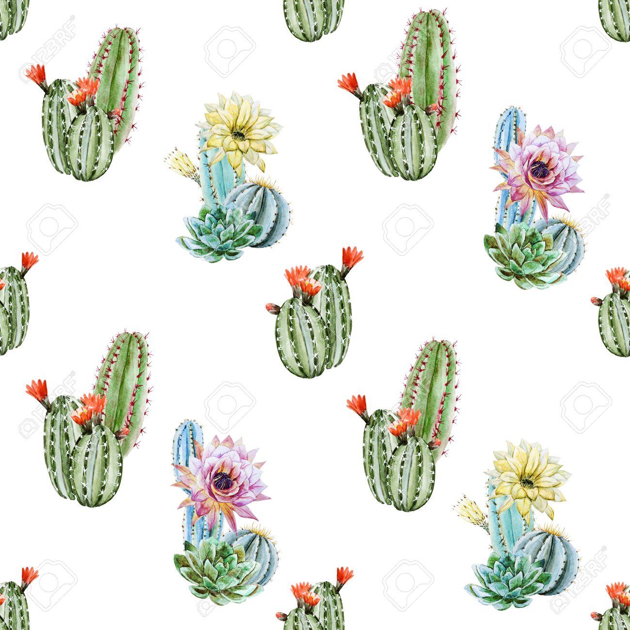 Beautiful Raster Image With Nice Watercolor Cactus Stock Photo