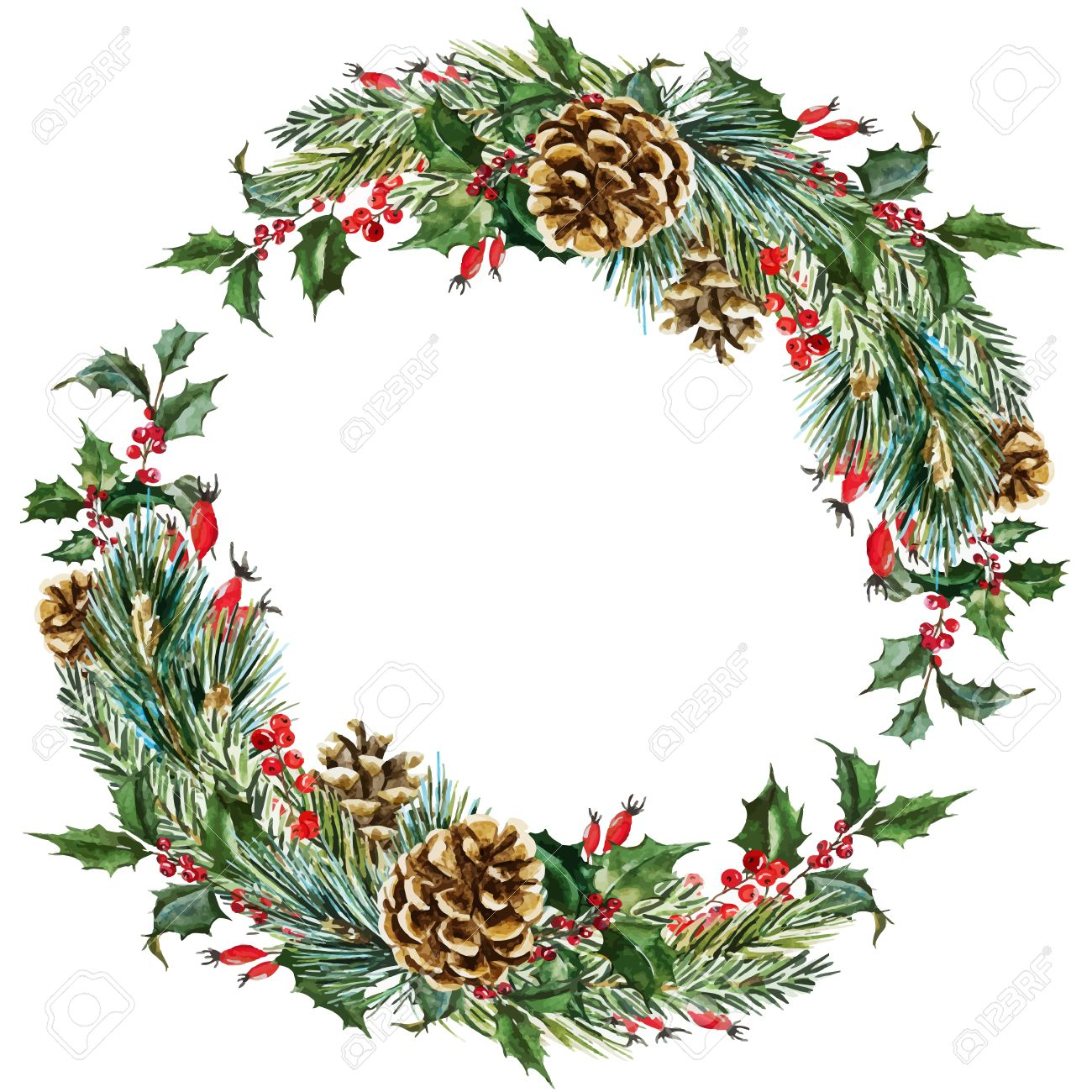 Beautiful Vector Image With Nice Hand Drawn Watercolor Christmas