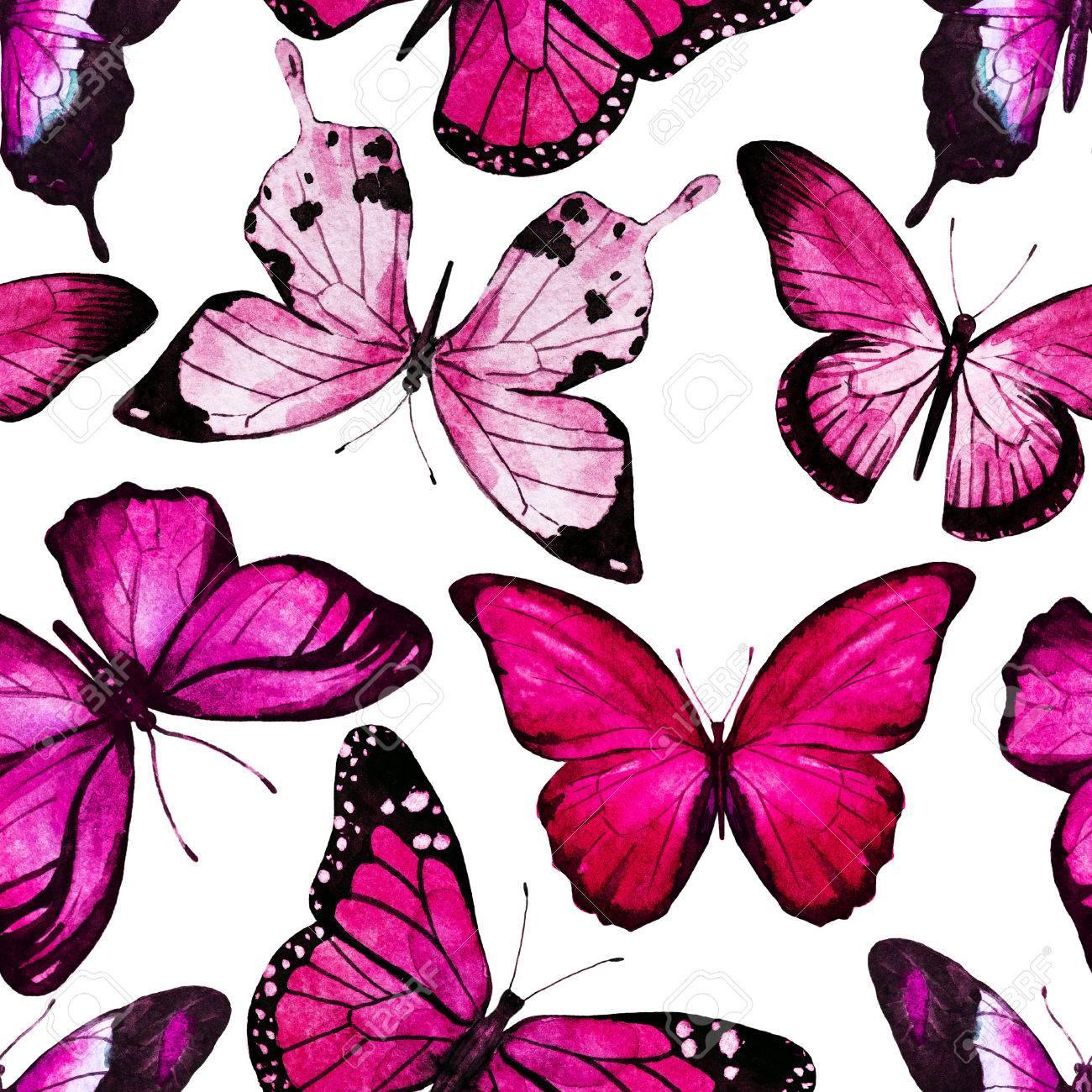 Patrón De Trama Hermosa Con Bonitas Mariposas Acuarela Fotos
