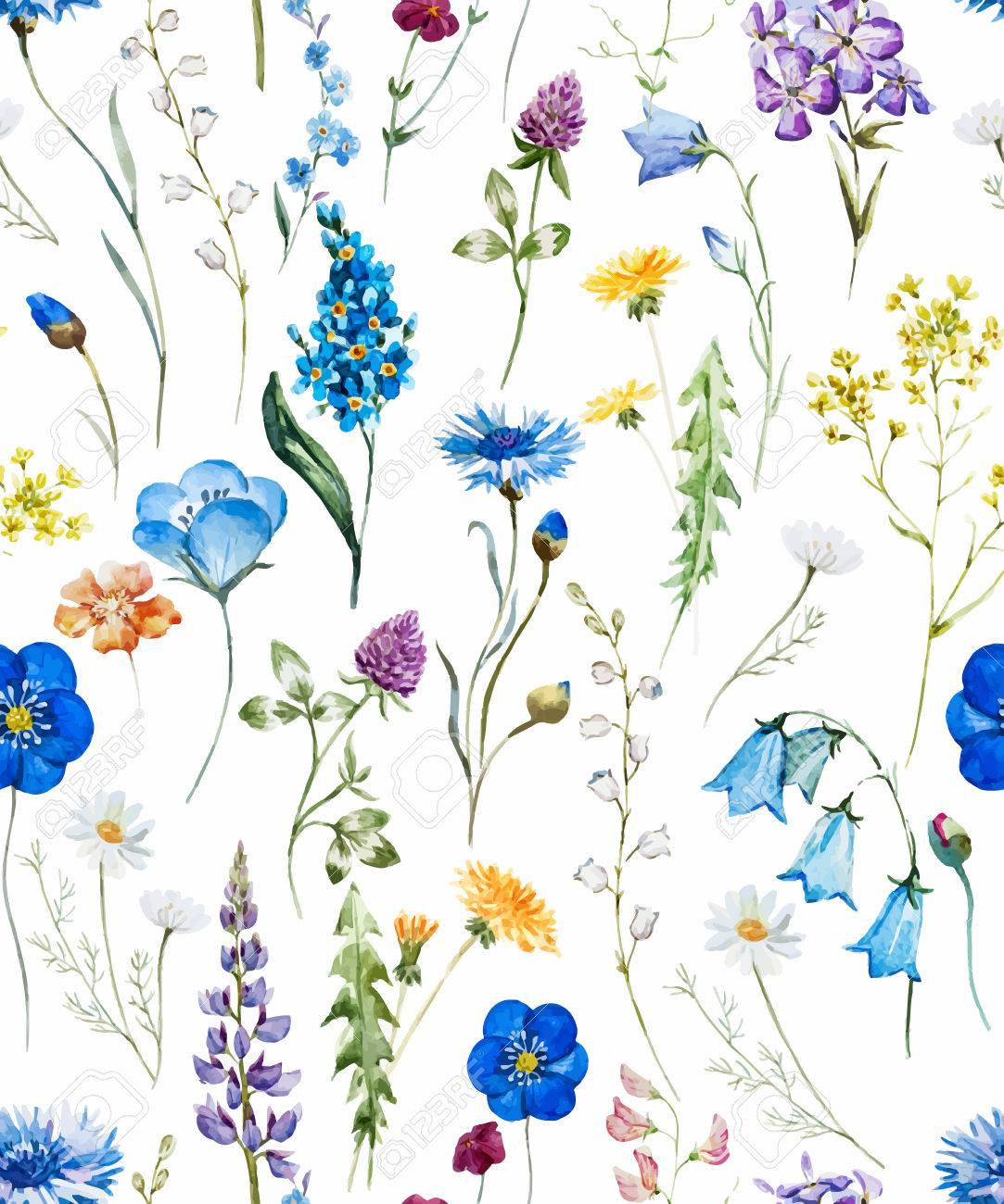 Beautiful pattern with nice watercolor hand drawn wild flowers - 58103988