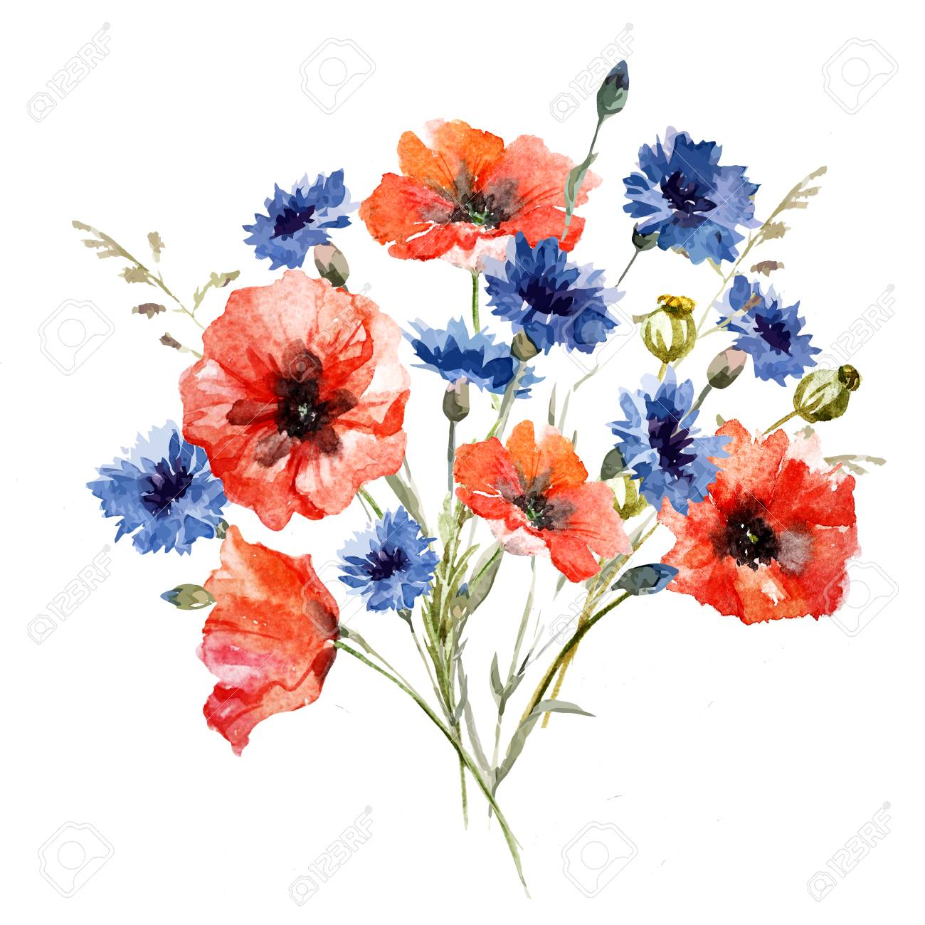 Beautiful Image With Nice Watercolor Wild Flowers Bouquet Stock