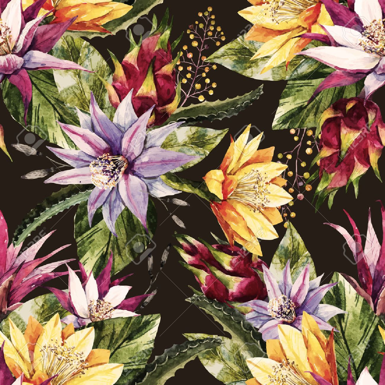 Beautiful pattern with nice watercolor tropical dragon flowers - 58104420