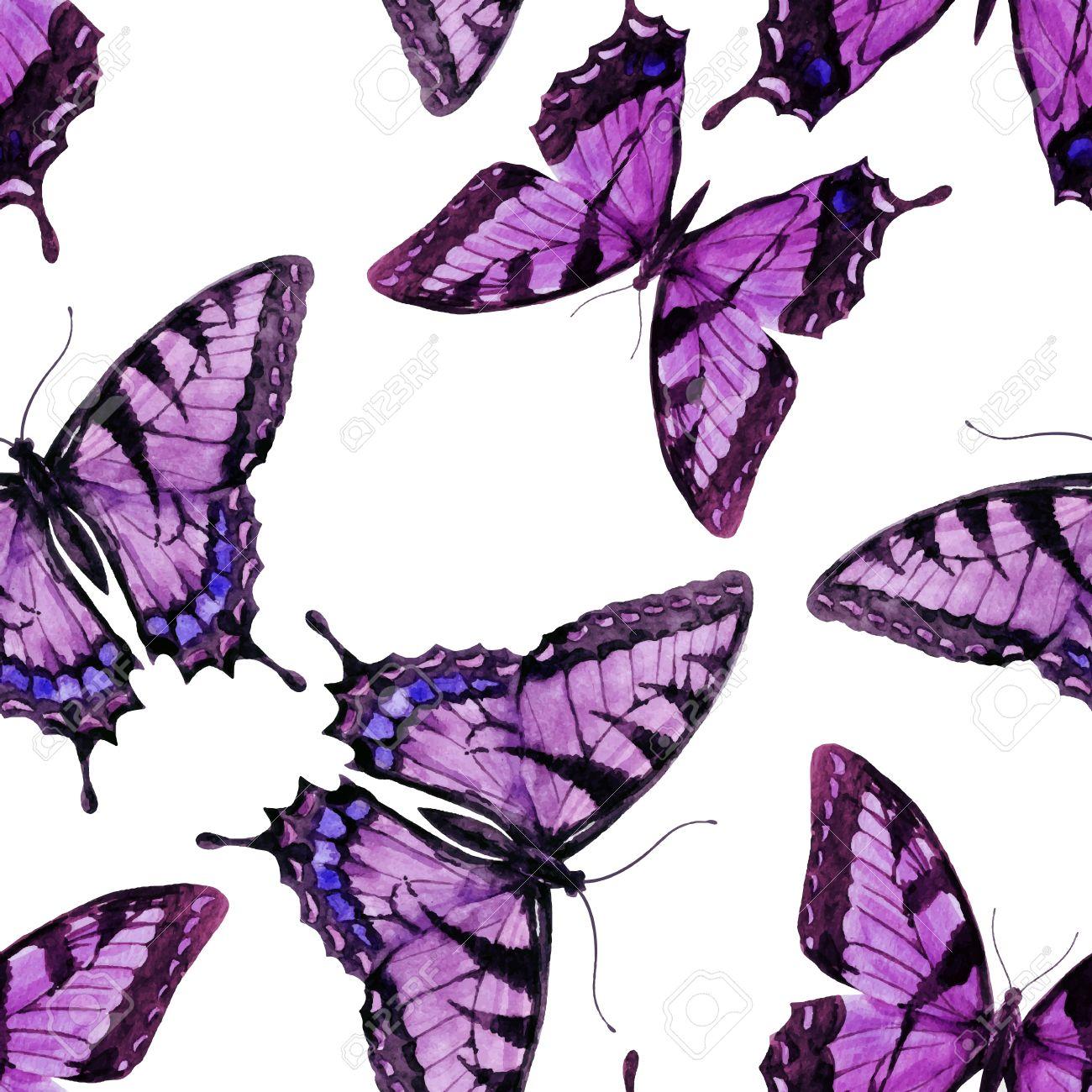 Patrón Preciosa Con Bonitas Mariposas Dibujadas A Mano Acuarela