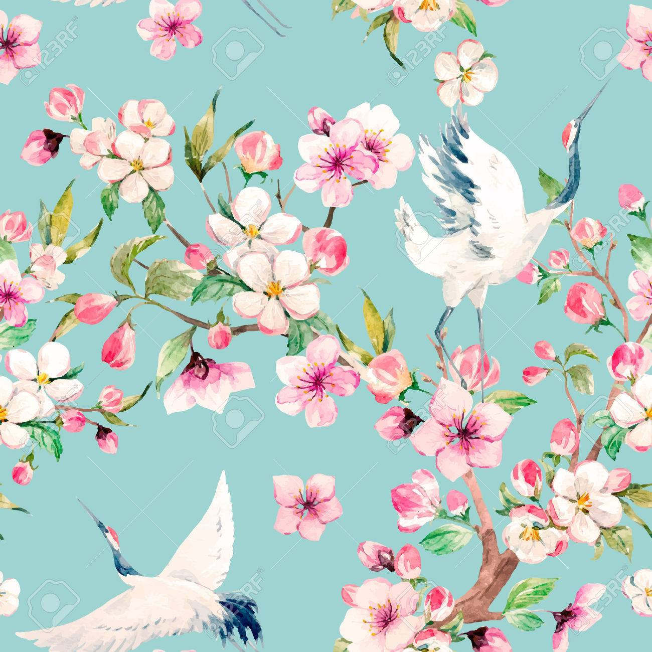 Watercolor crane with flowers vector pattern - 73712407