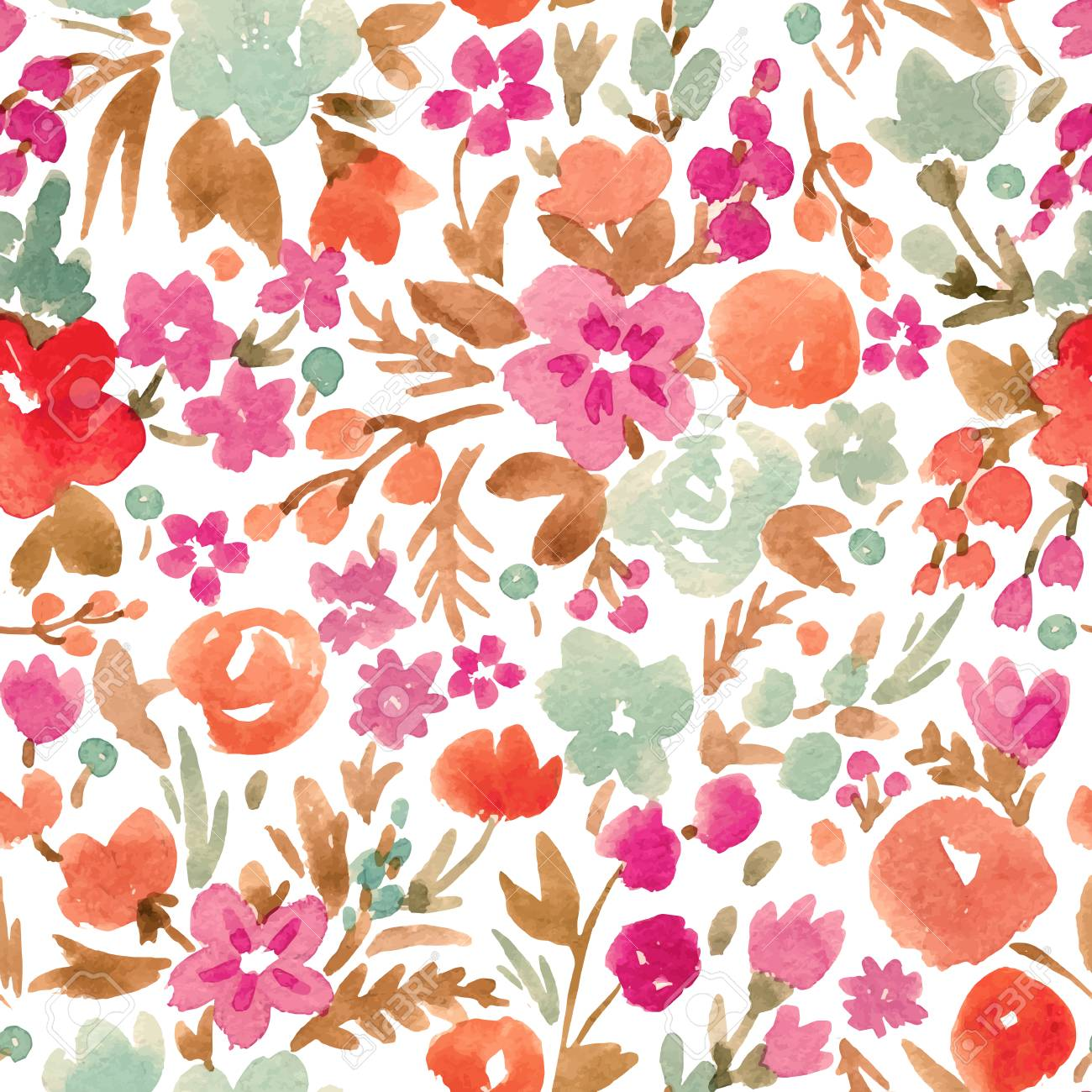 Watercolor vector abstract floral pattern - 80953177