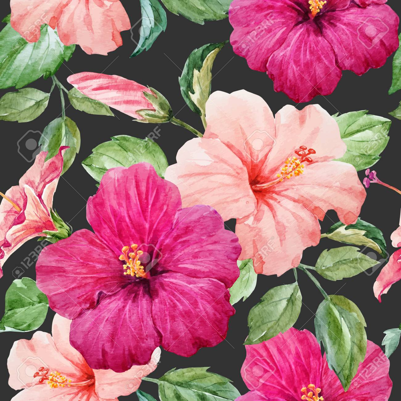 Seamless tropical vector pattern with watercolor hibiscus flowers seamless tropical vector pattern with watercolor hibiscus flowers stock vector 82983925 izmirmasajfo