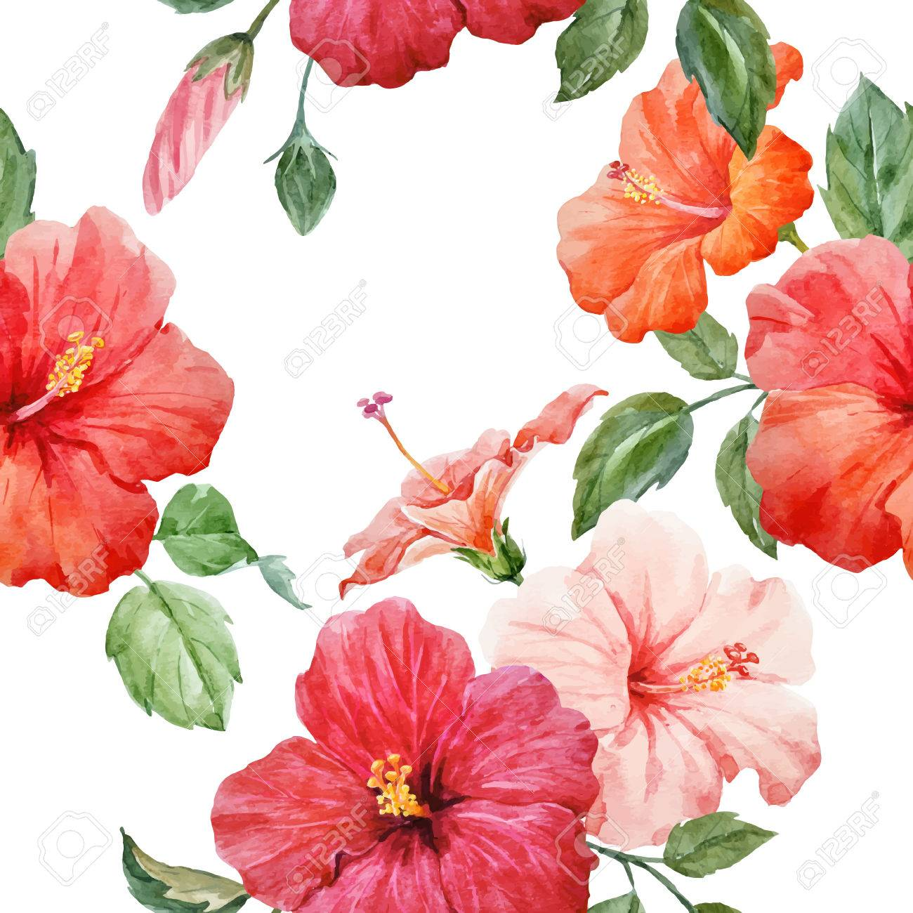 Seamless tropical vector pattern with watercolor hibiscus flowers seamless tropical vector pattern with watercolor hibiscus flowers stock vector 82983986 izmirmasajfo