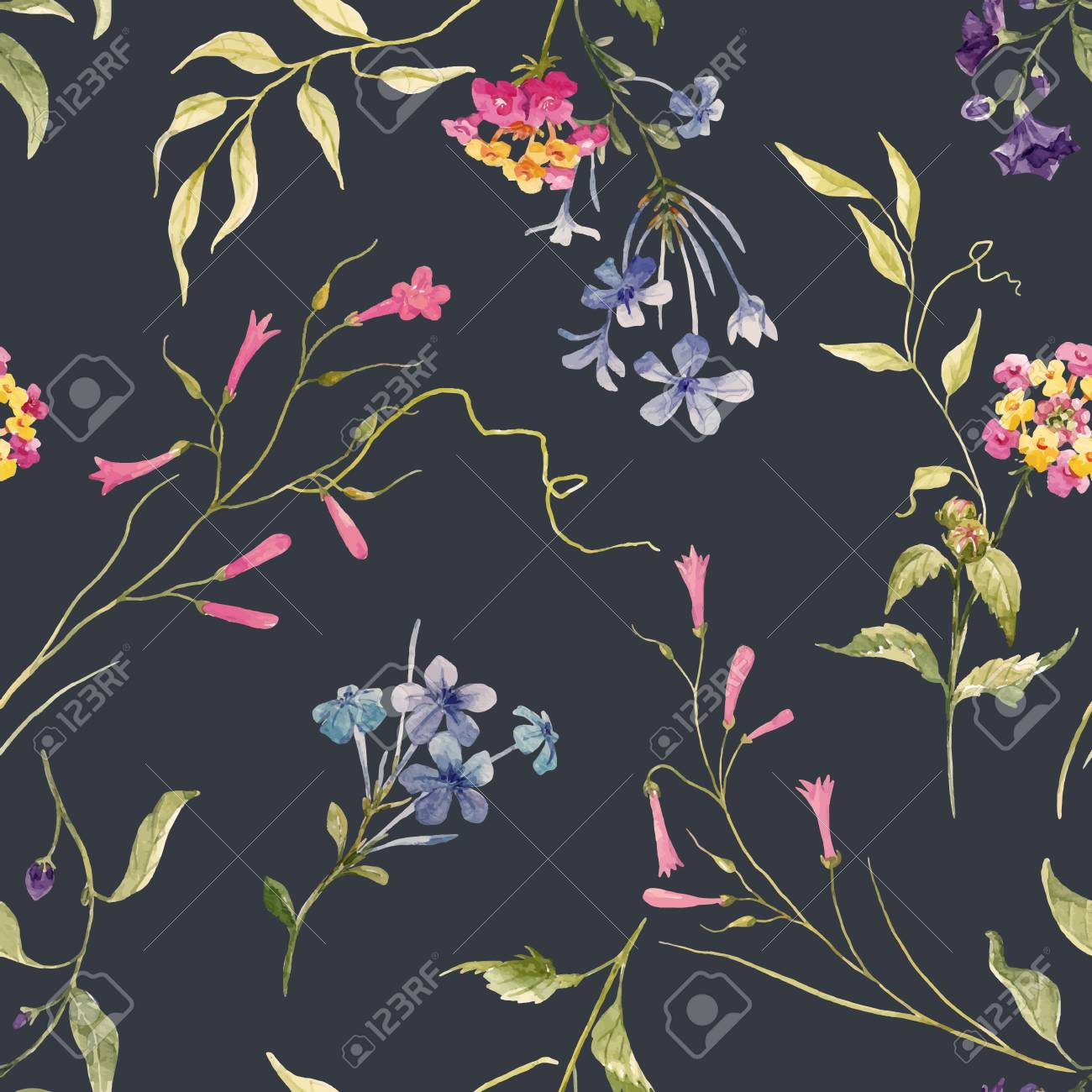 Watercolor floral vector pattern - 88701936