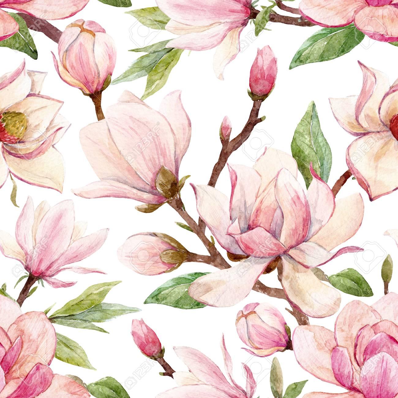 Watercolor magnolia floral pattern - 93884796