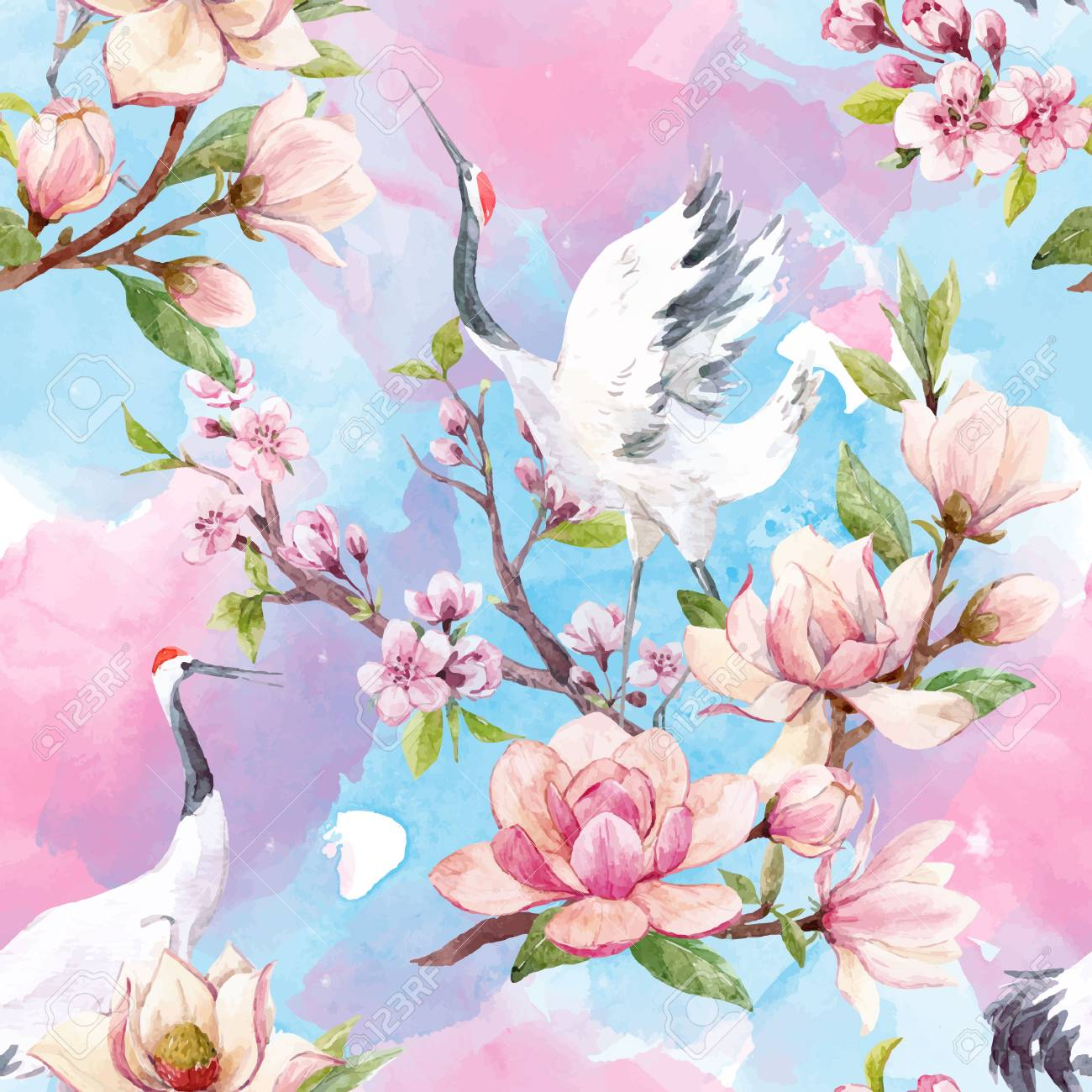 Beautiful vector seamless pattern with watercolor magnolia flowers and cranes - 94389029