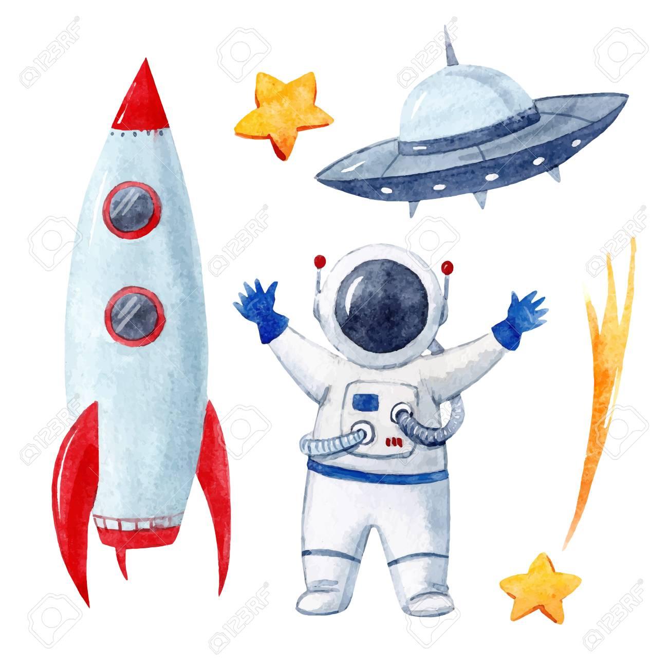 Watercolor baby space vector set - 96127358