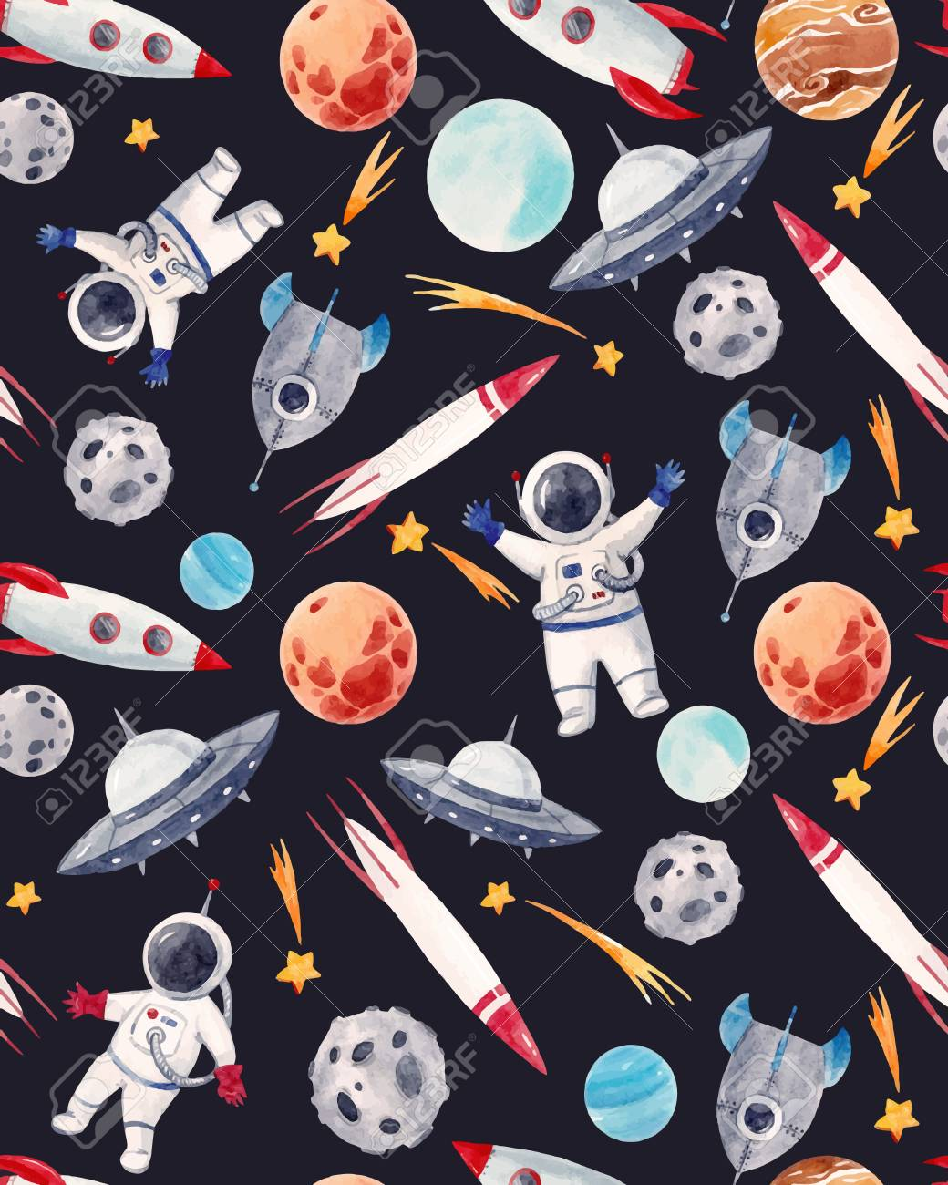 Watercolor space baby vector pattern - 96152410