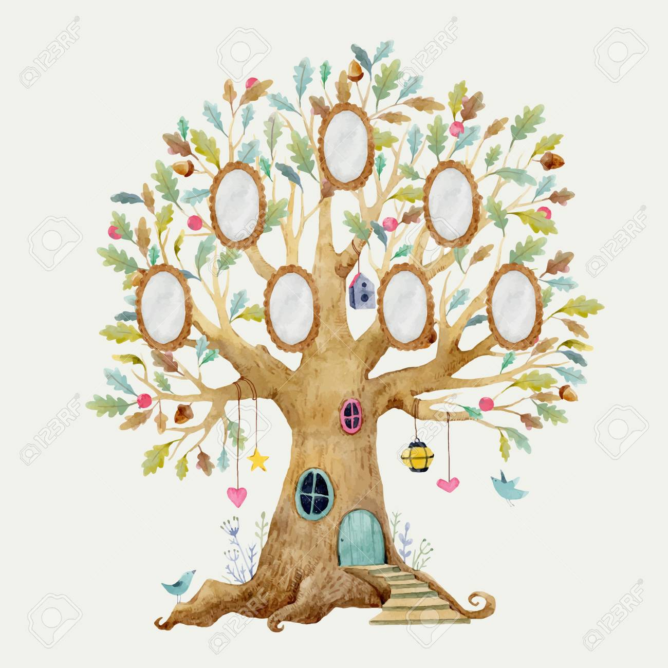 Beautiful vector illustration with forest tree house for babies with frames for family - 98773274