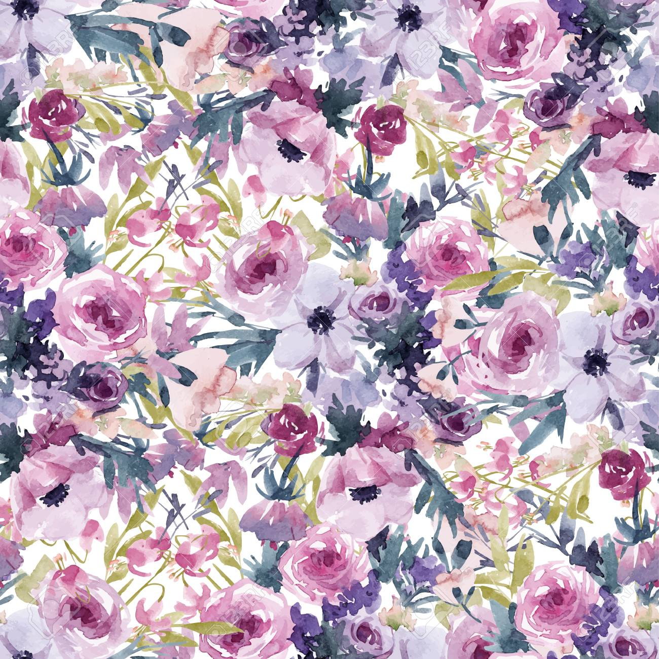 Watercolor spring floral pattern - 101338735