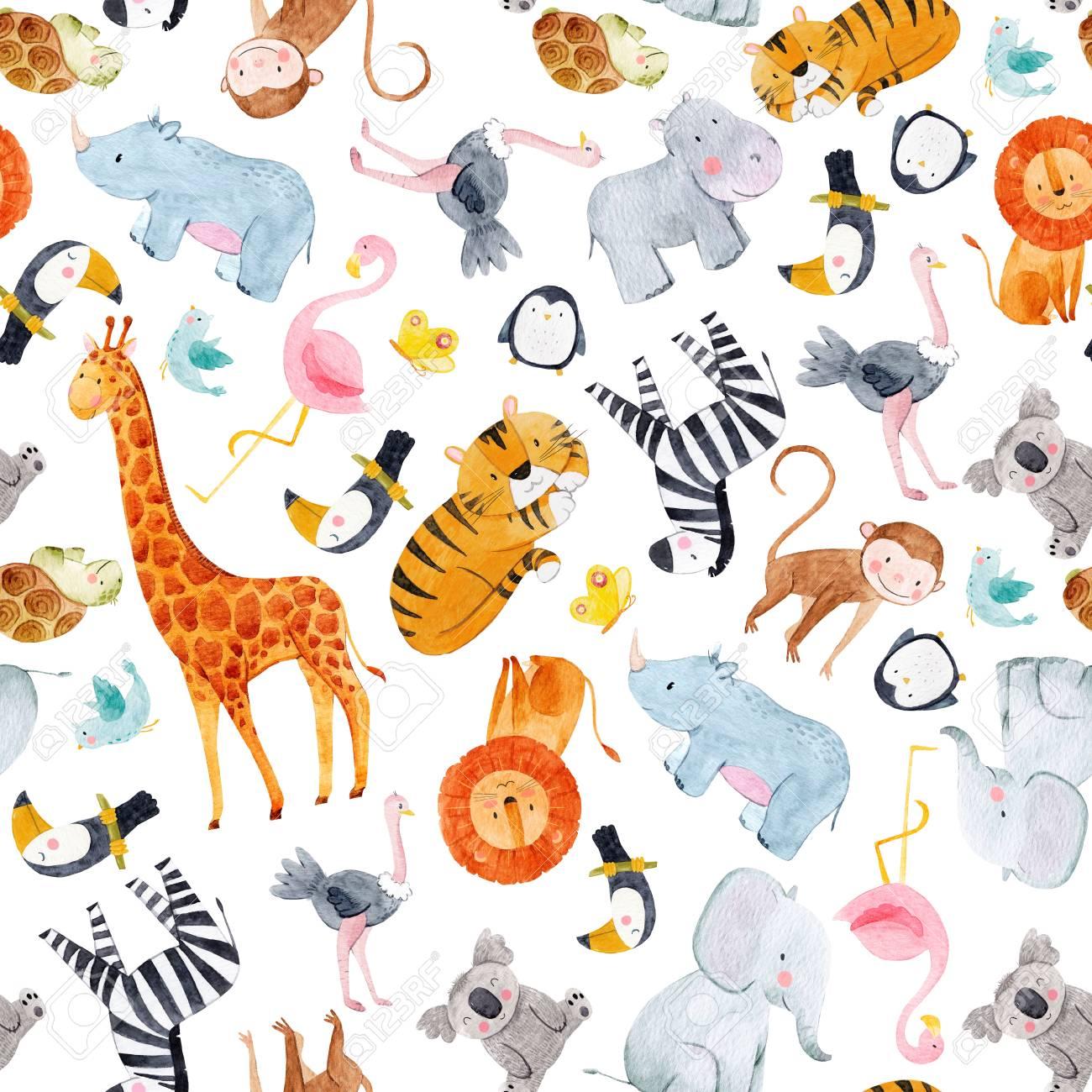 Safari animals watercolor pattern - 101537471