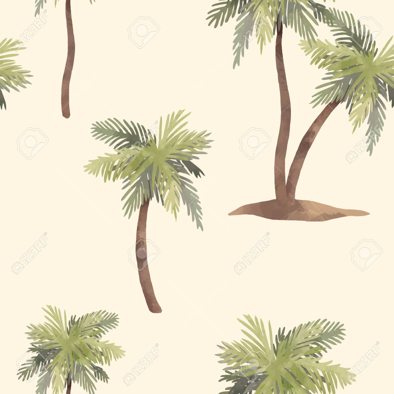 Beautiful vector seamless pattern with hand drawn watercolor tropical palms - 112006215
