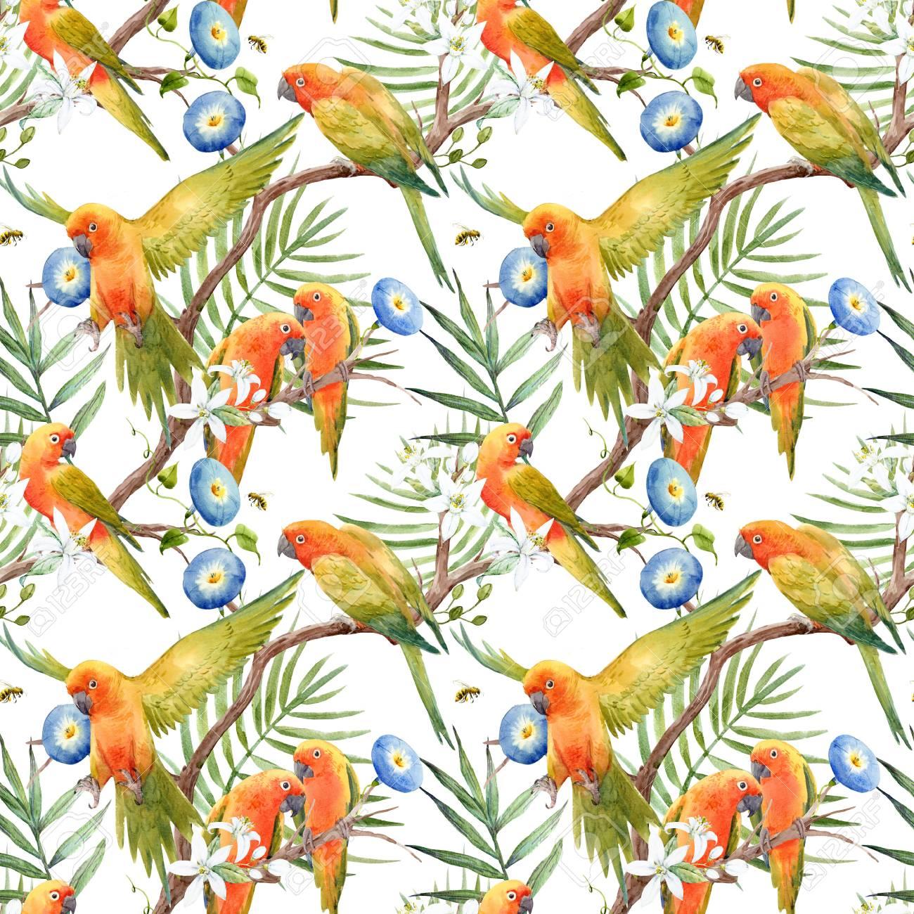 Tropical Parrots Wallpaper Birds Floral Green Blue Orange Watercolour Vinyl
