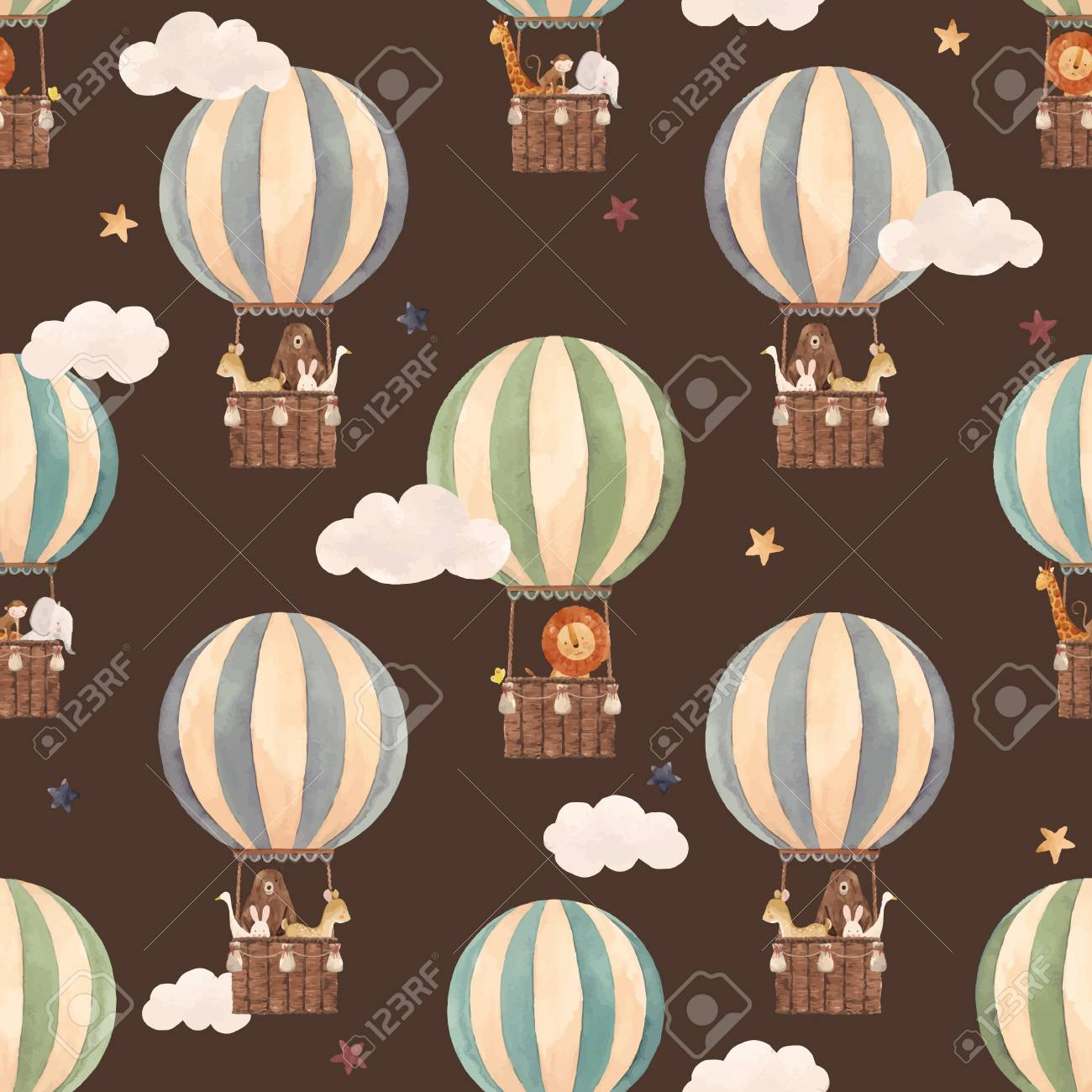 Beautiful vector seamless pattern with watercolor air baloons with cute animals - 122039162