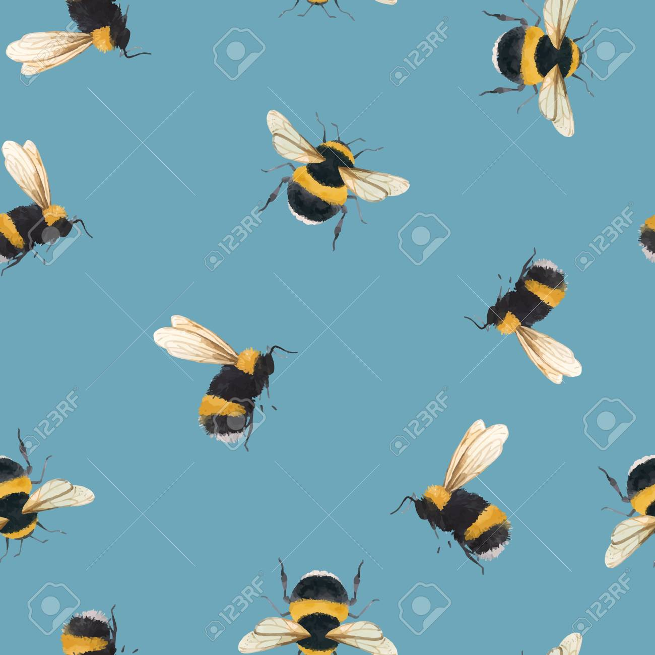 Beautiful vector seamless pattern with watercolor bumblebee bee wasp insect - 122039225