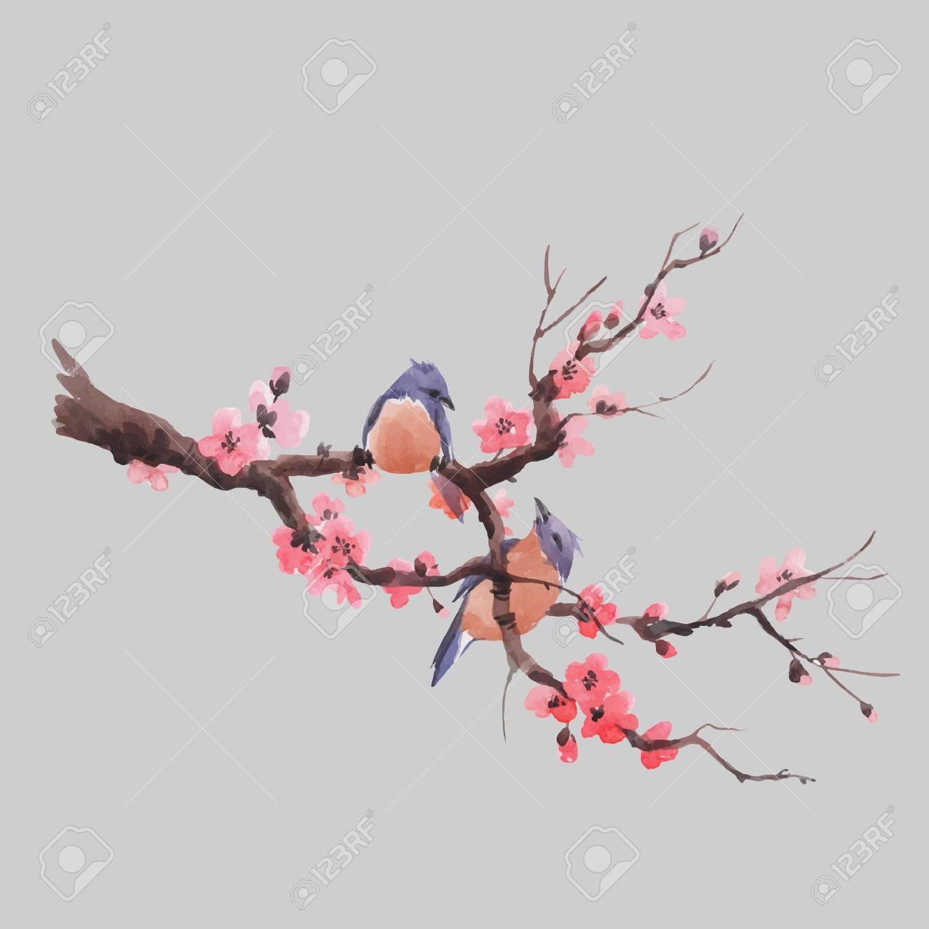 Beautiful vector illustration with watercolor japanese sakura branch - 128172289